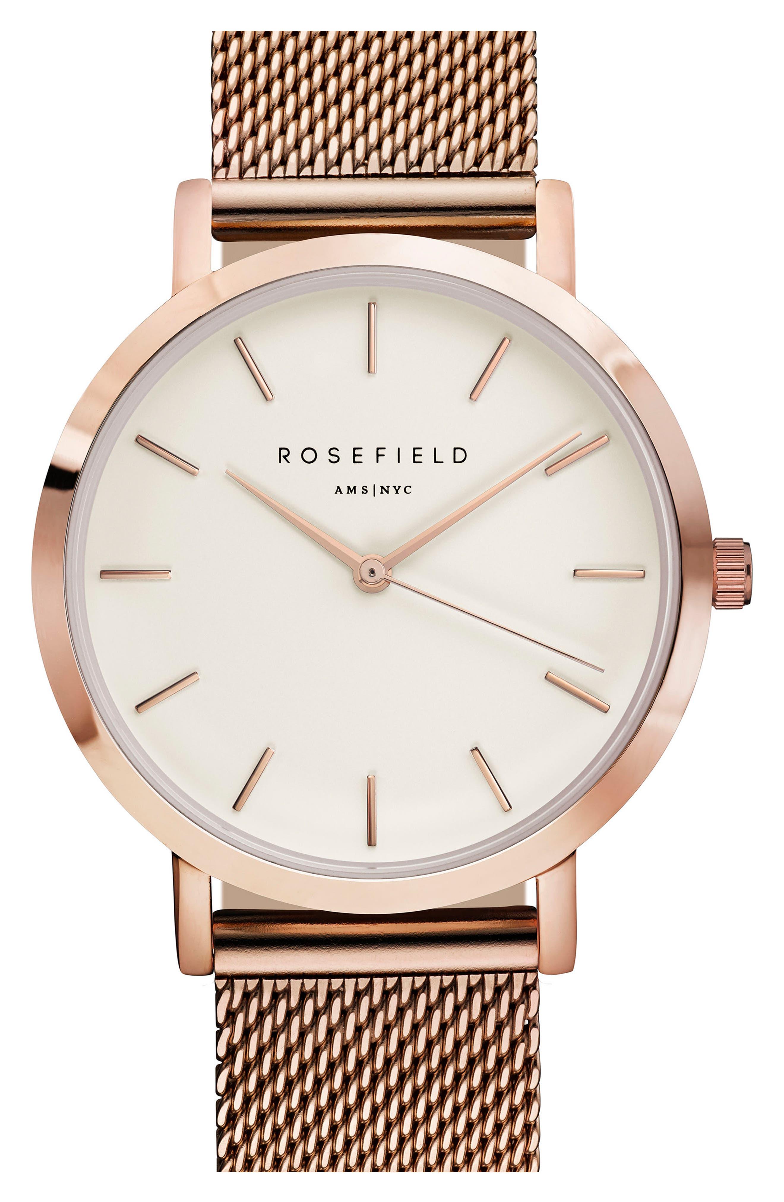 Alternate Image 1 Selected - Rosefield Tribeca Mesh Strap Watch, 33mm