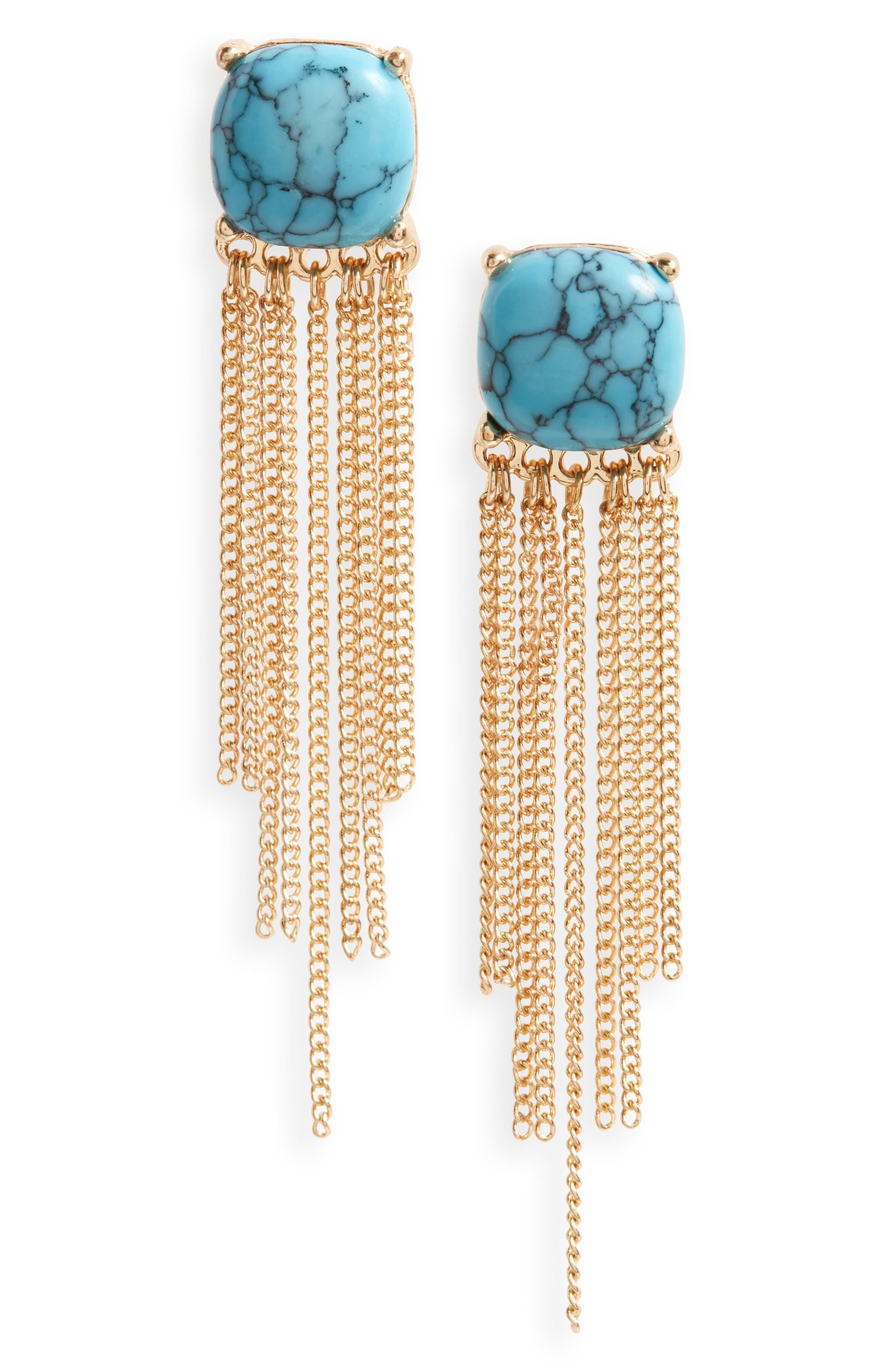 LOREN OLIVIA Fringe Drop Earrings