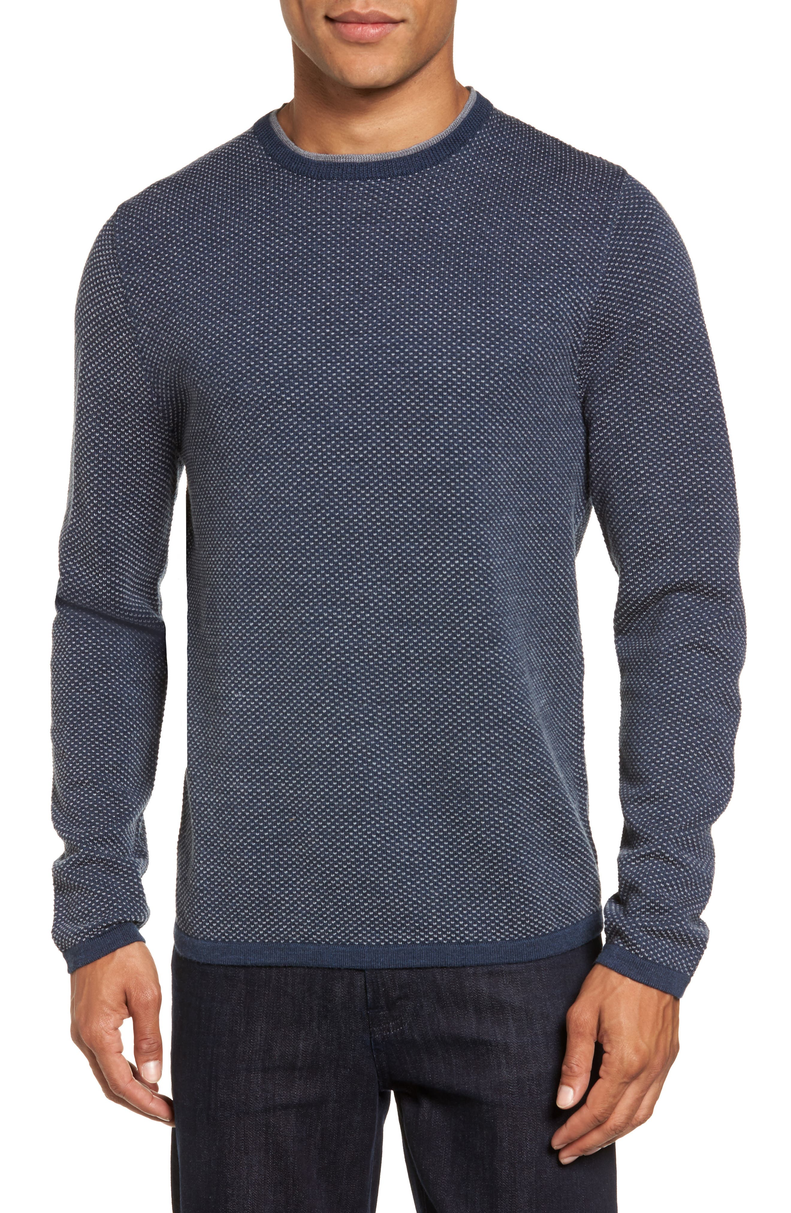 Crewneck Knit Sweater,                         Main,                         color, Navy Iris Birdseye