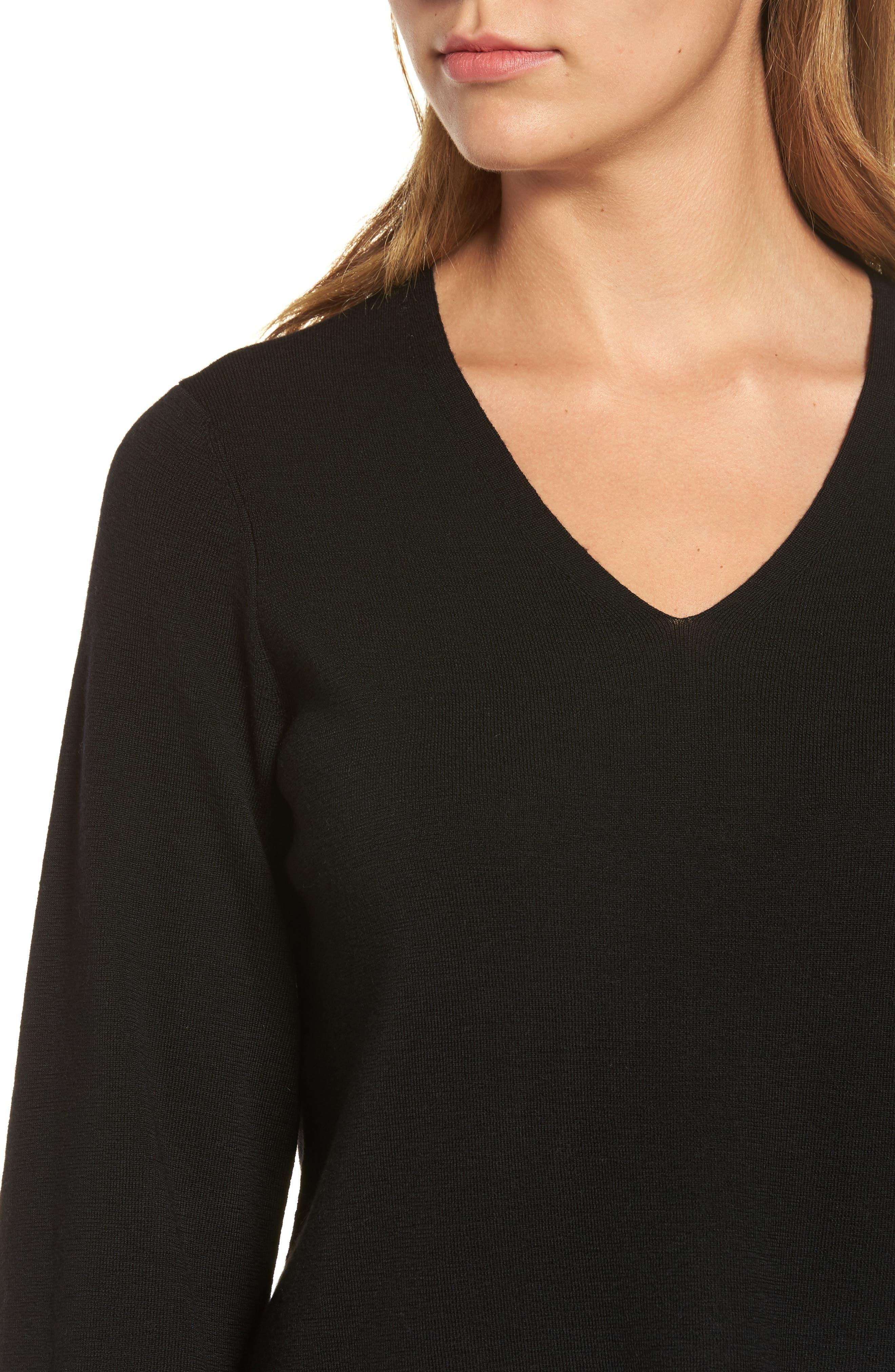 Alternate Image 4  - Eileen Fisher Merino Wool V-Neck Top
