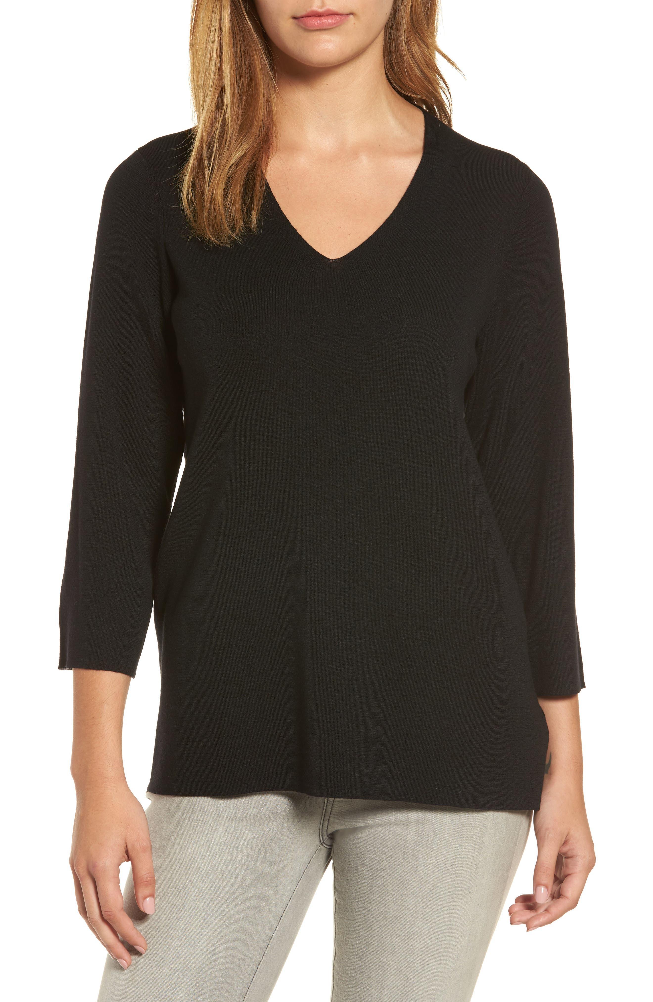 Merino Wool V-Neck Top,                         Main,                         color, Black