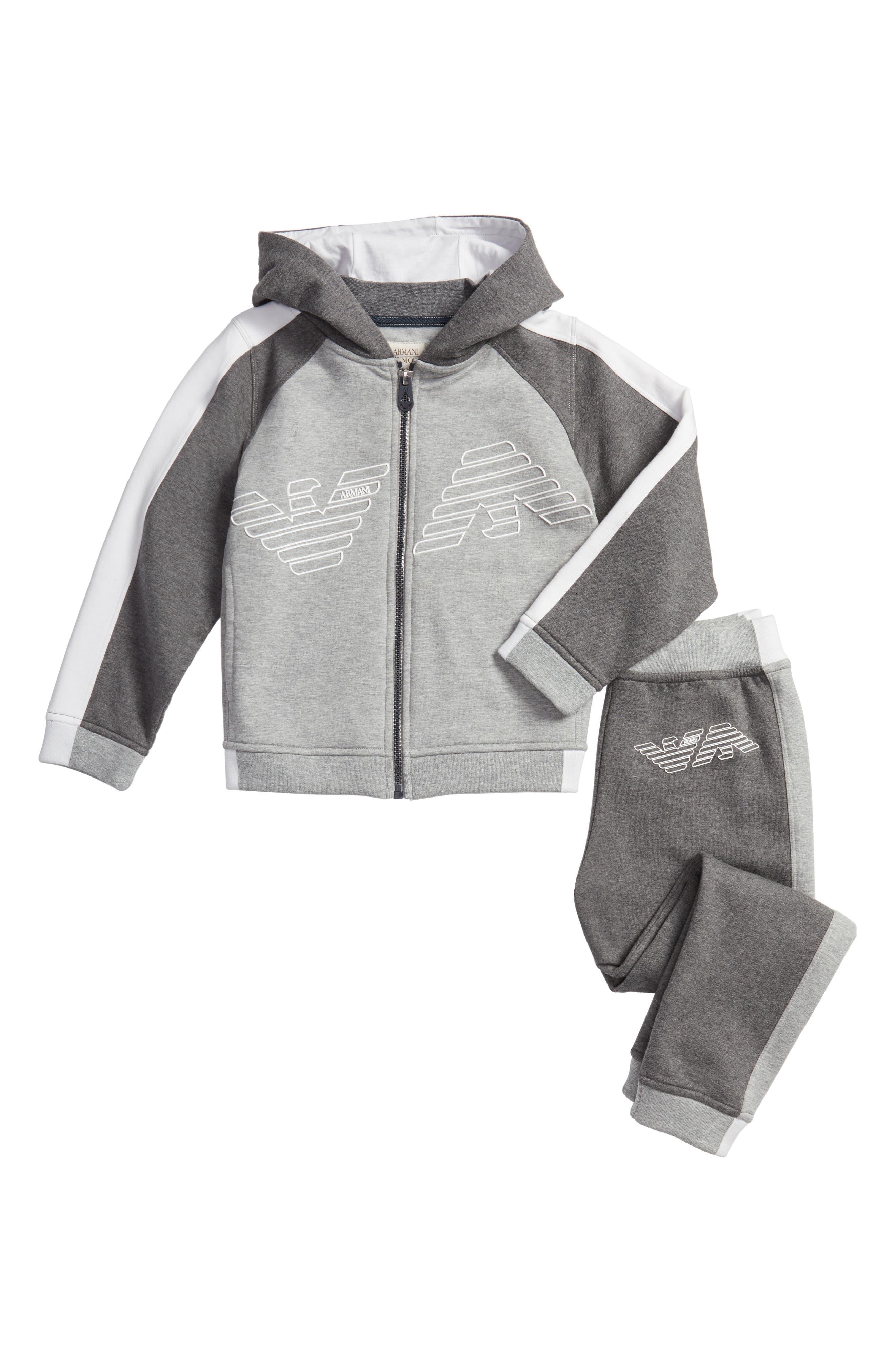 Main Image - Armani Junior Hooded Jacket & Sweatpants Set (Little Boys & Big Boys)