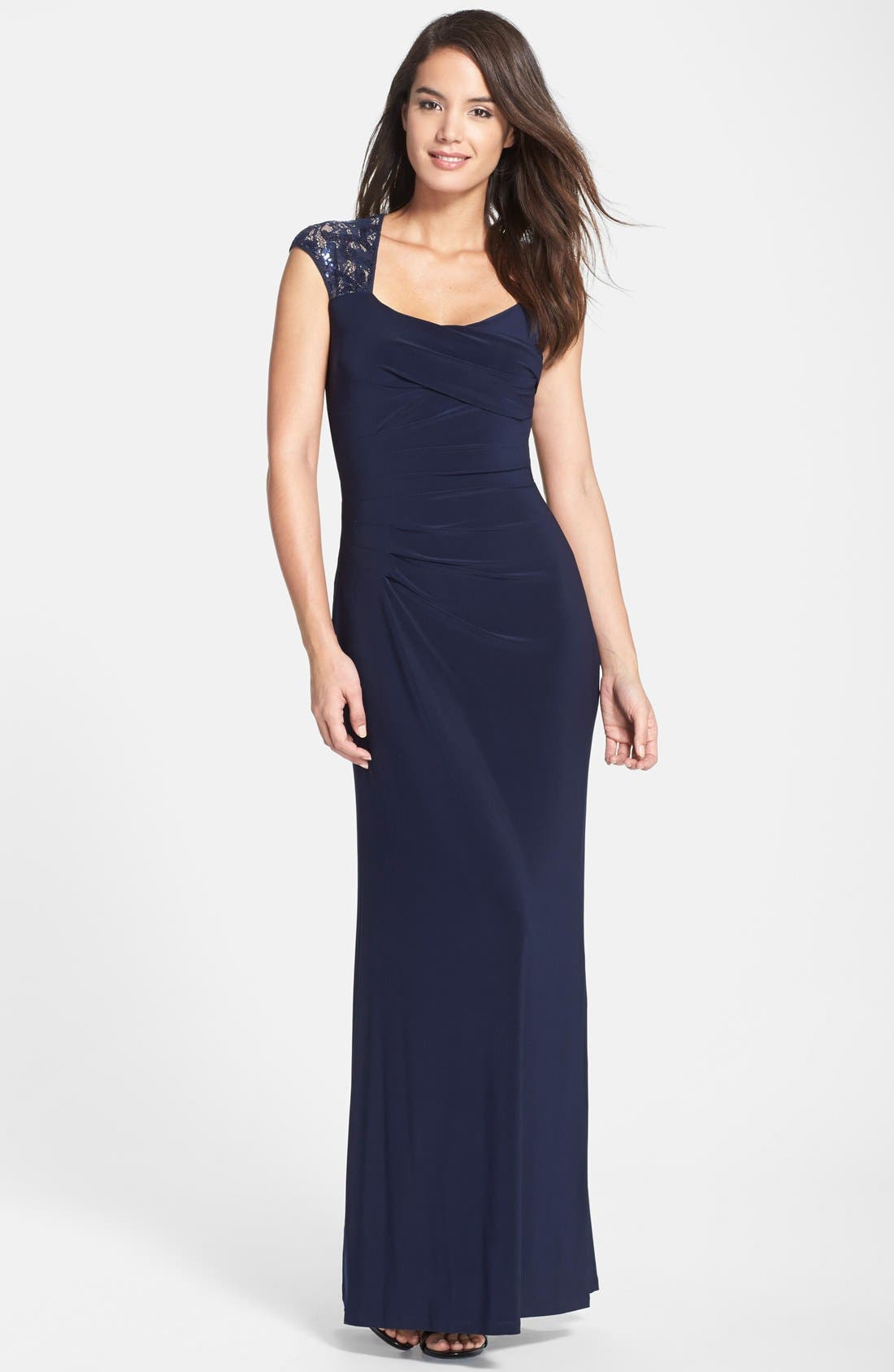 Alternate Image 1 Selected - Lauren Ralph Lauren Sequin Lace Sleeve Jersey Gown (Regular & Petite)