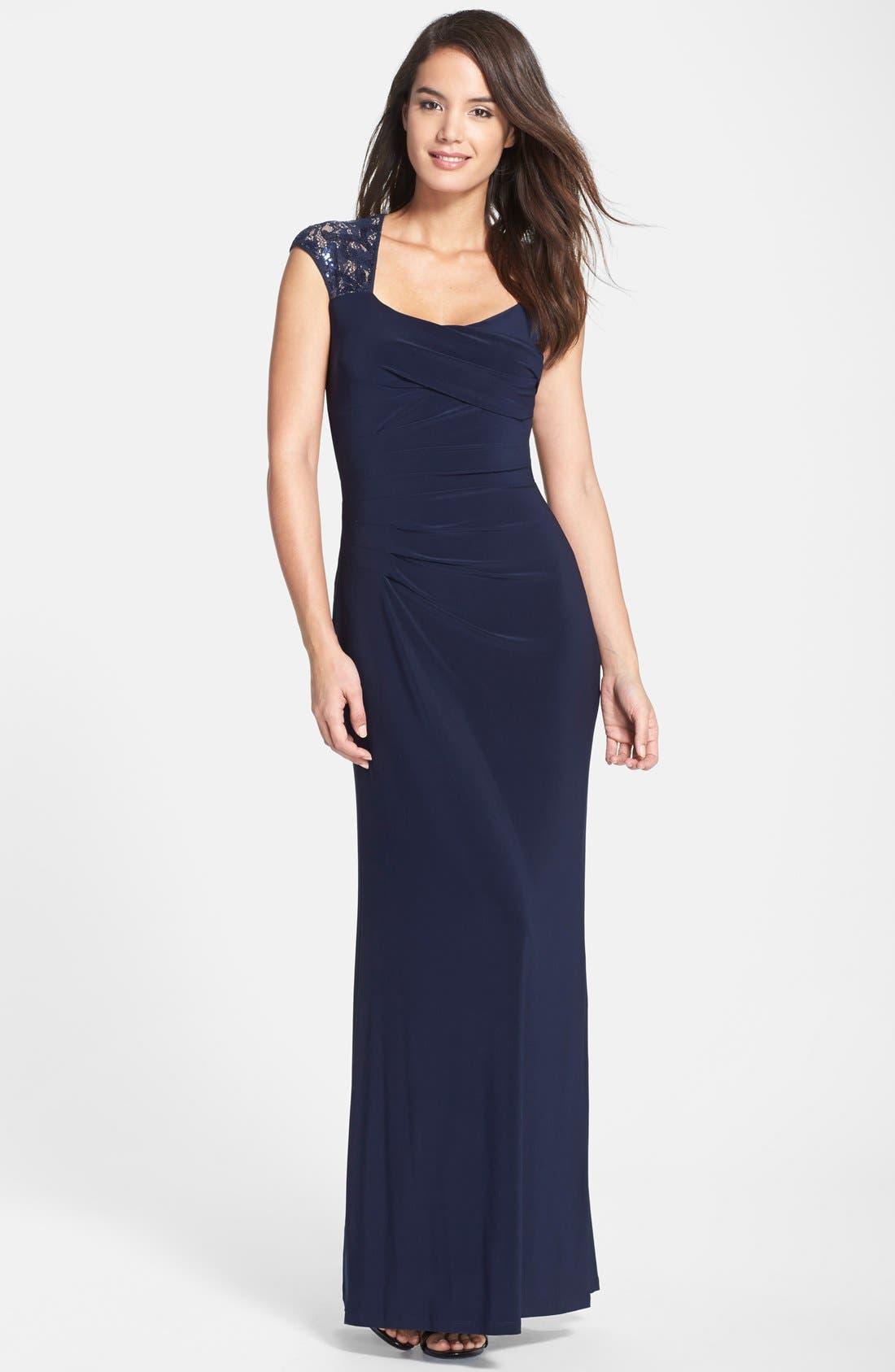 Main Image - Lauren Ralph Lauren Sequin Lace Sleeve Jersey Gown (Regular & Petite)