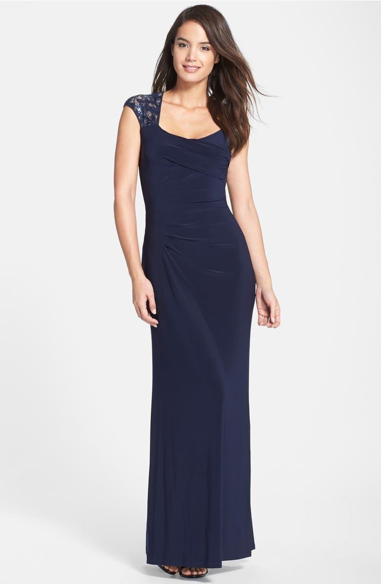 Lauren Ralph Lauren Sequin Lace Sleeve Jersey Gown (Regular & Petite ...