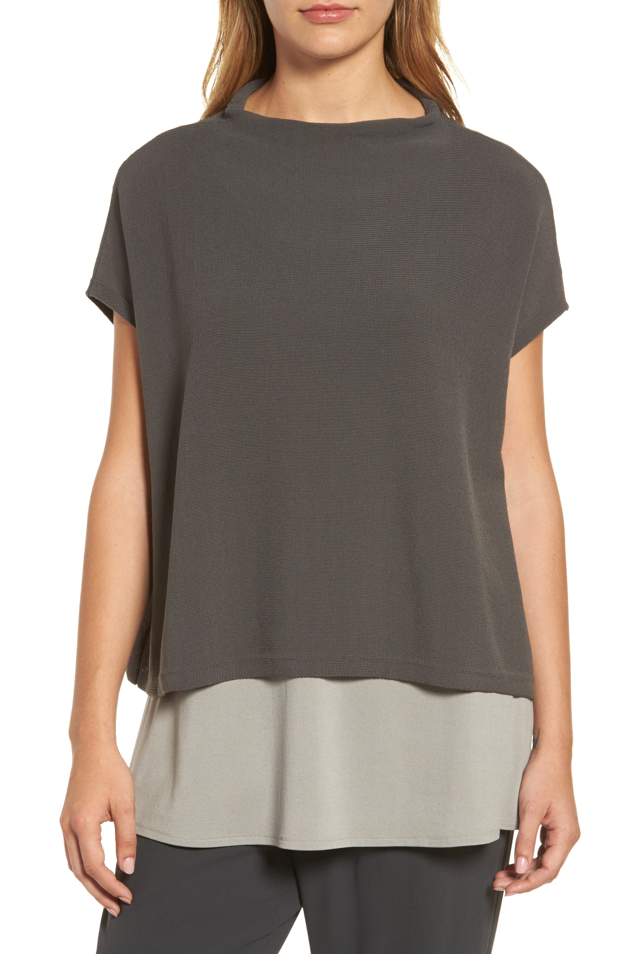 Main Image - Eileen Fisher Organic Cotton Blend Funnel Neck Sweater