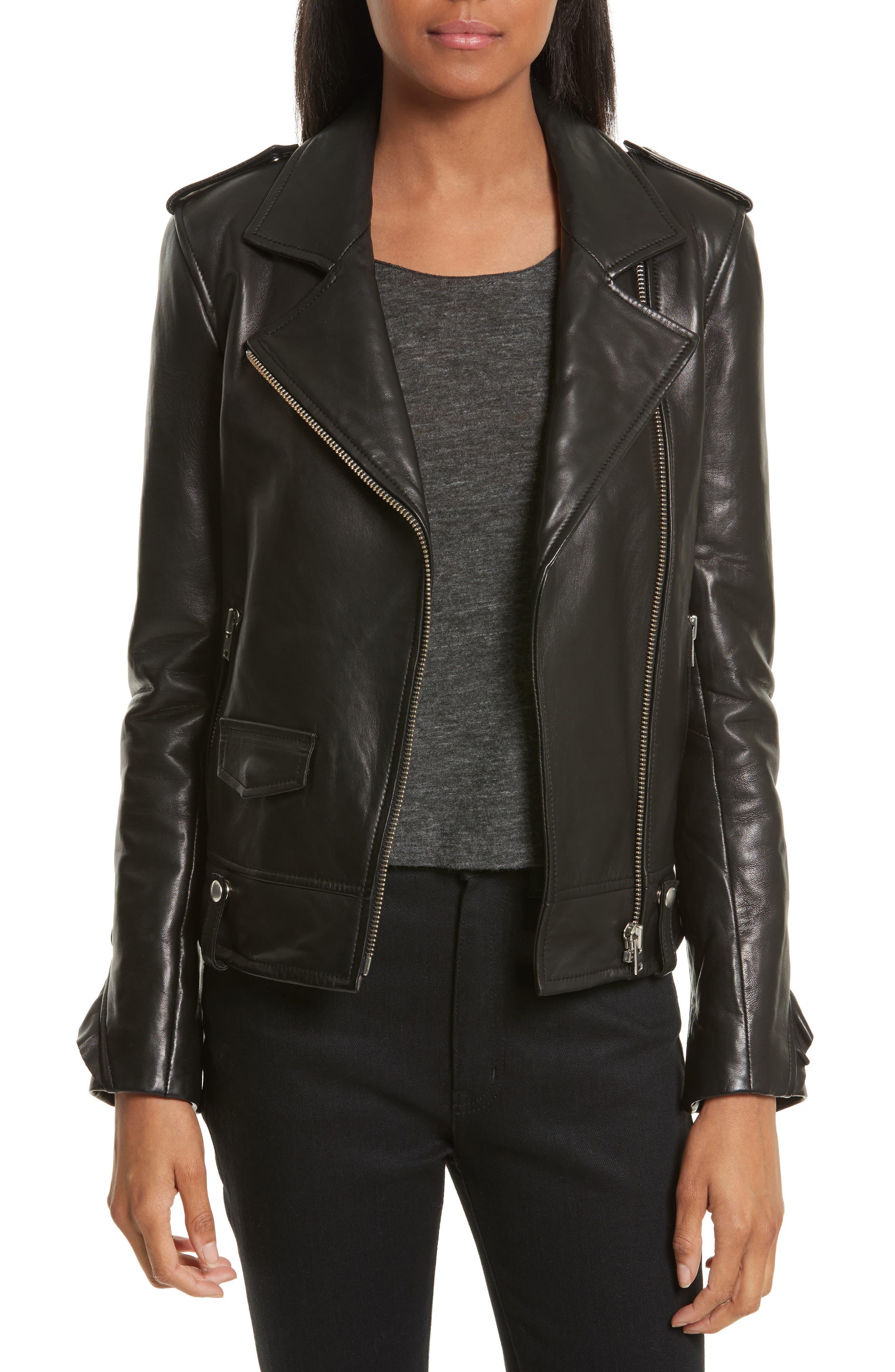 Dumont Leather Jacket,                             Main thumbnail 1, color,                             Black