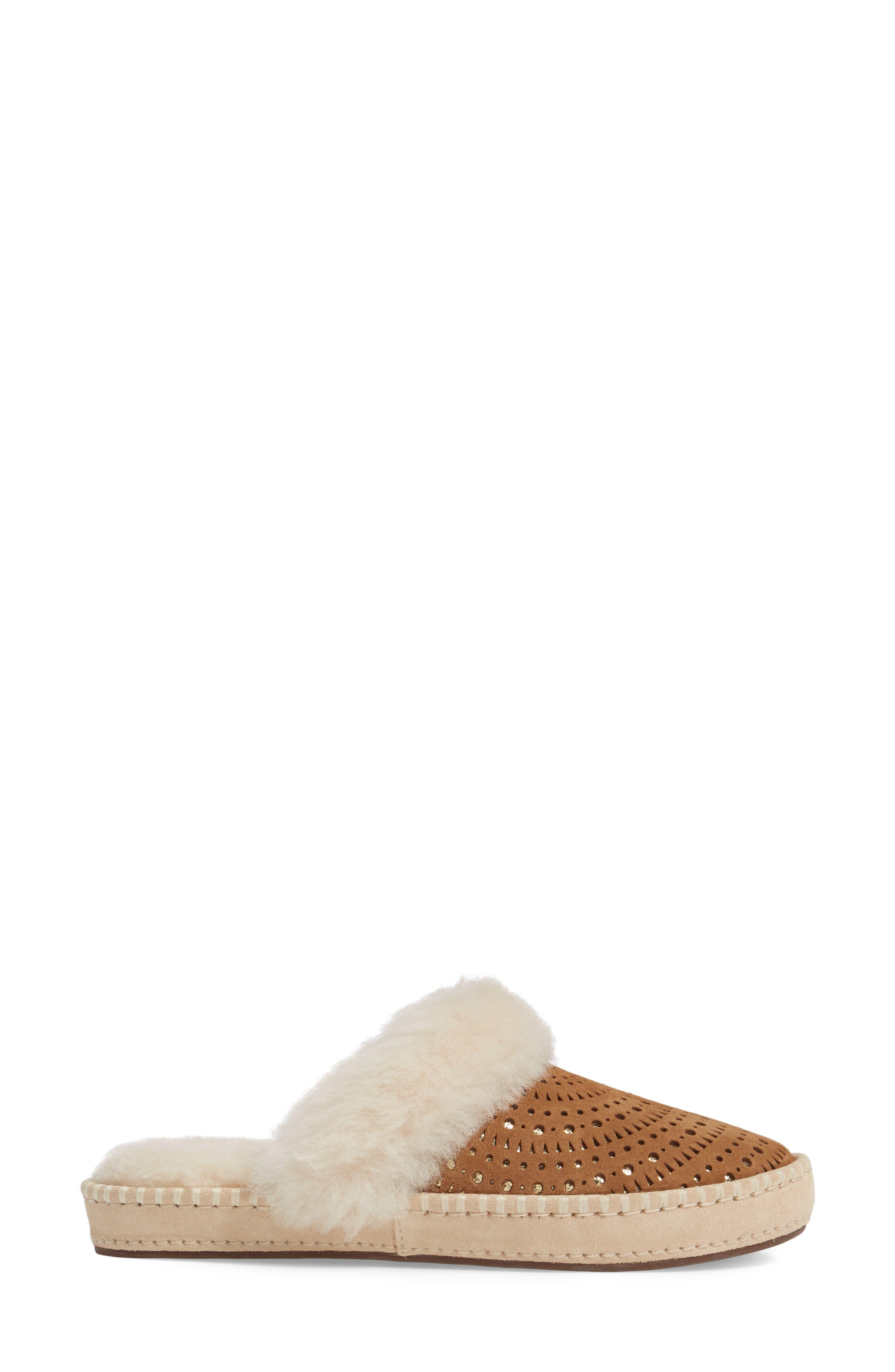 Aira Sunshine Genuine Shearling Slipper,                             Alternate thumbnail 4, color,                             Chestnut Suede