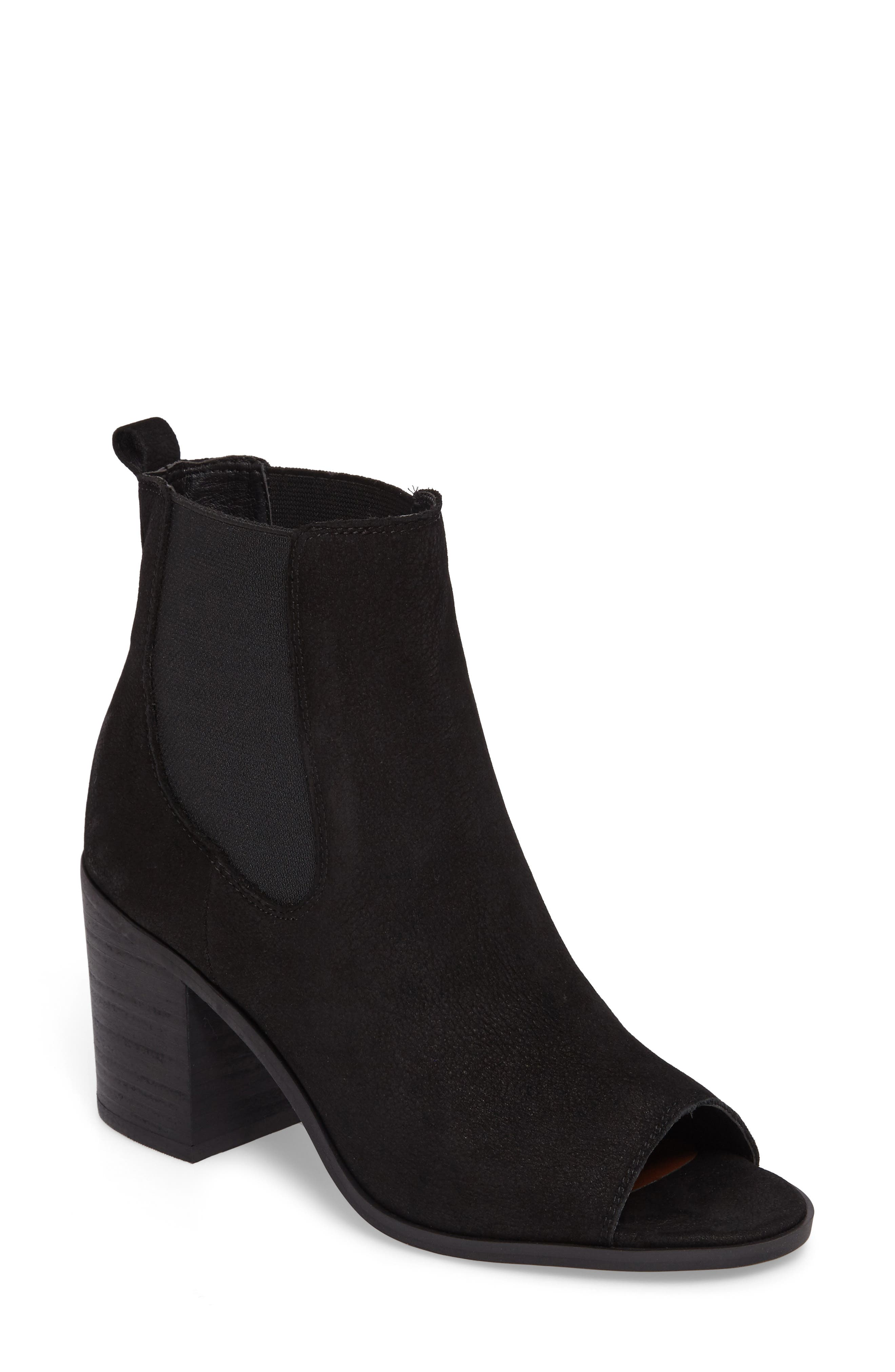 Kassidy Open Toe Chelsea Bootie,                             Main thumbnail 1, color,                             Black Leather