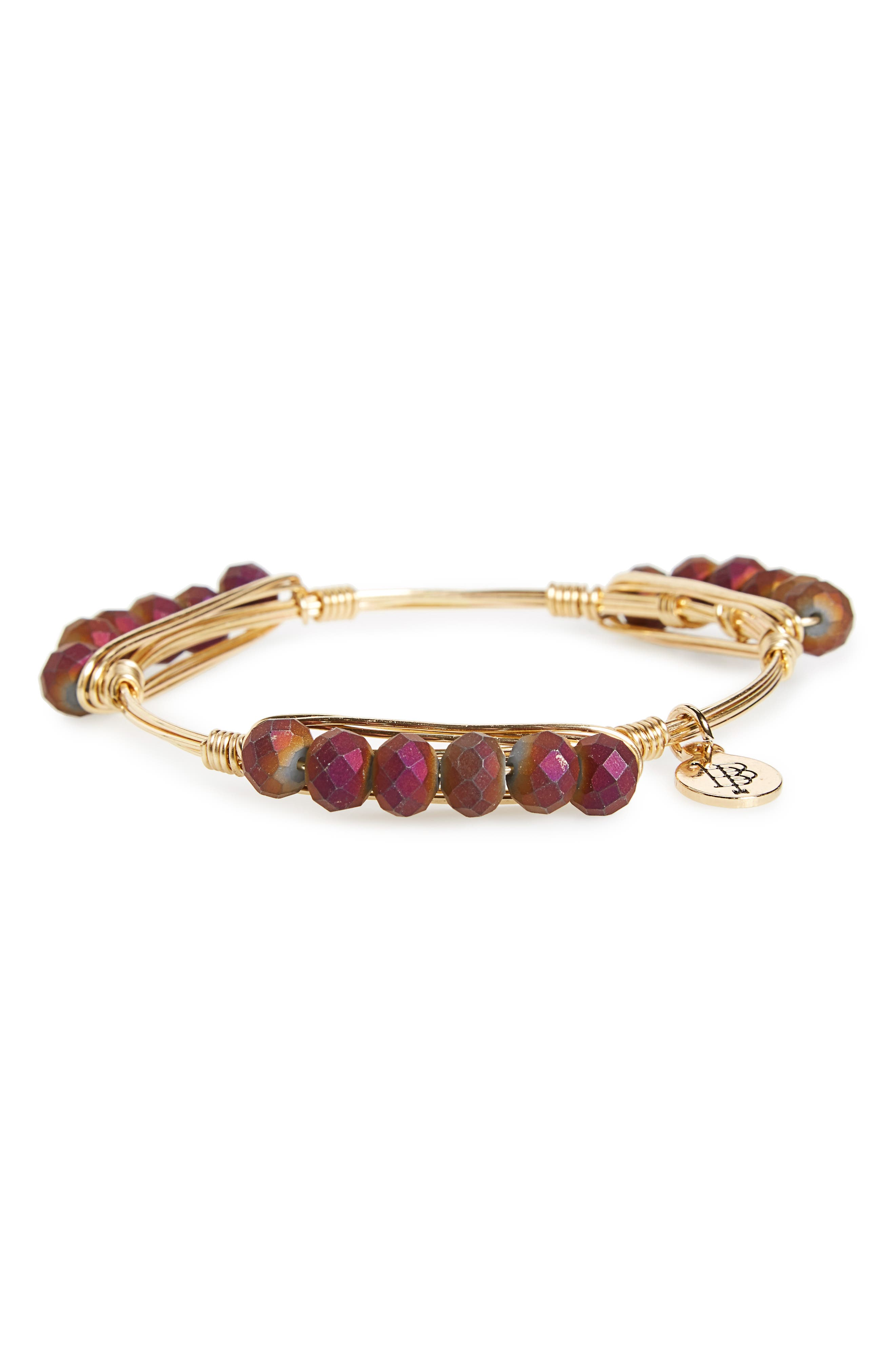 Beaded Bracelet,                         Main,                         color, Purple/ Gold