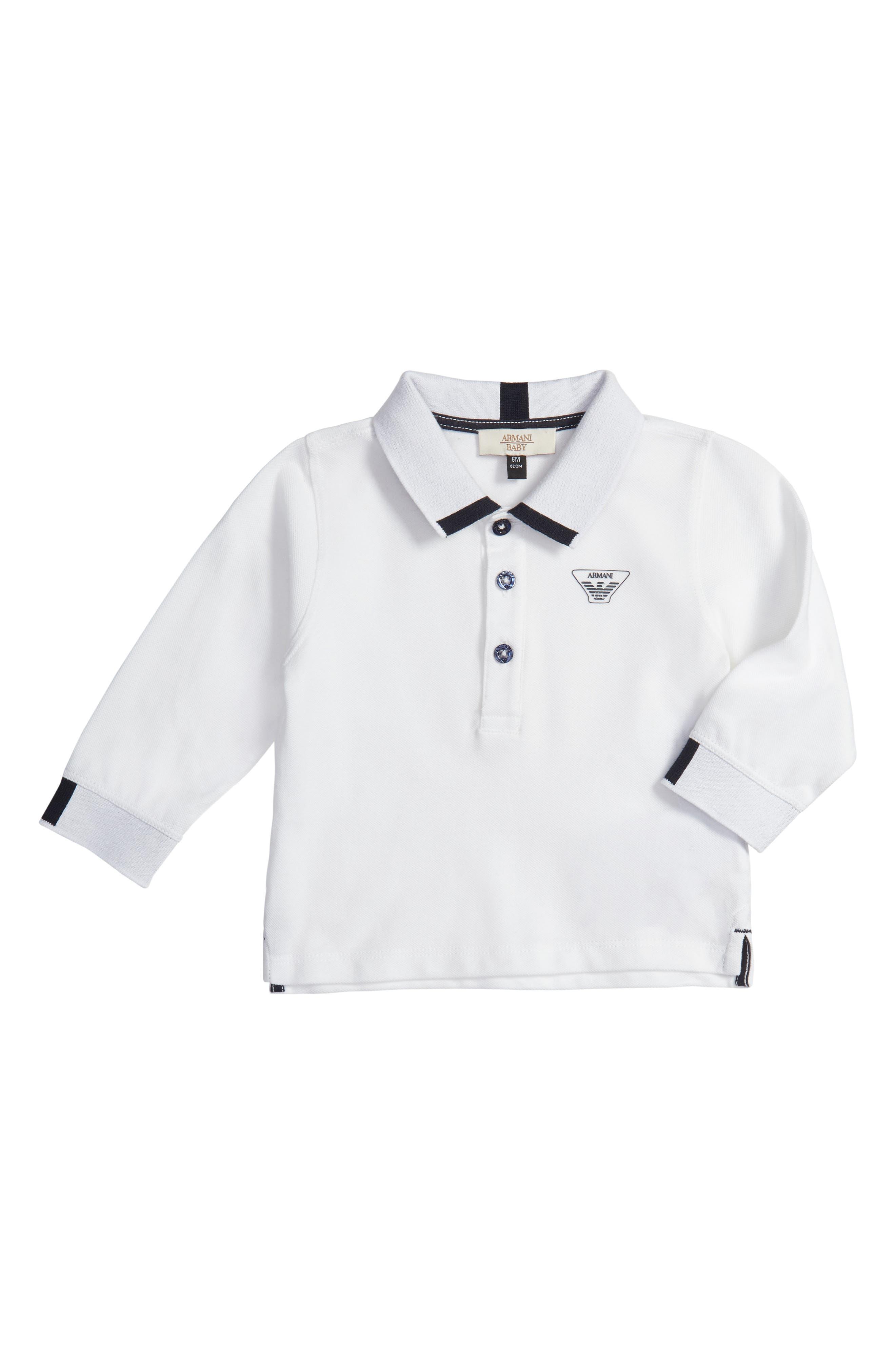 Long Sleeve Piqué Polo,                         Main,                         color, White