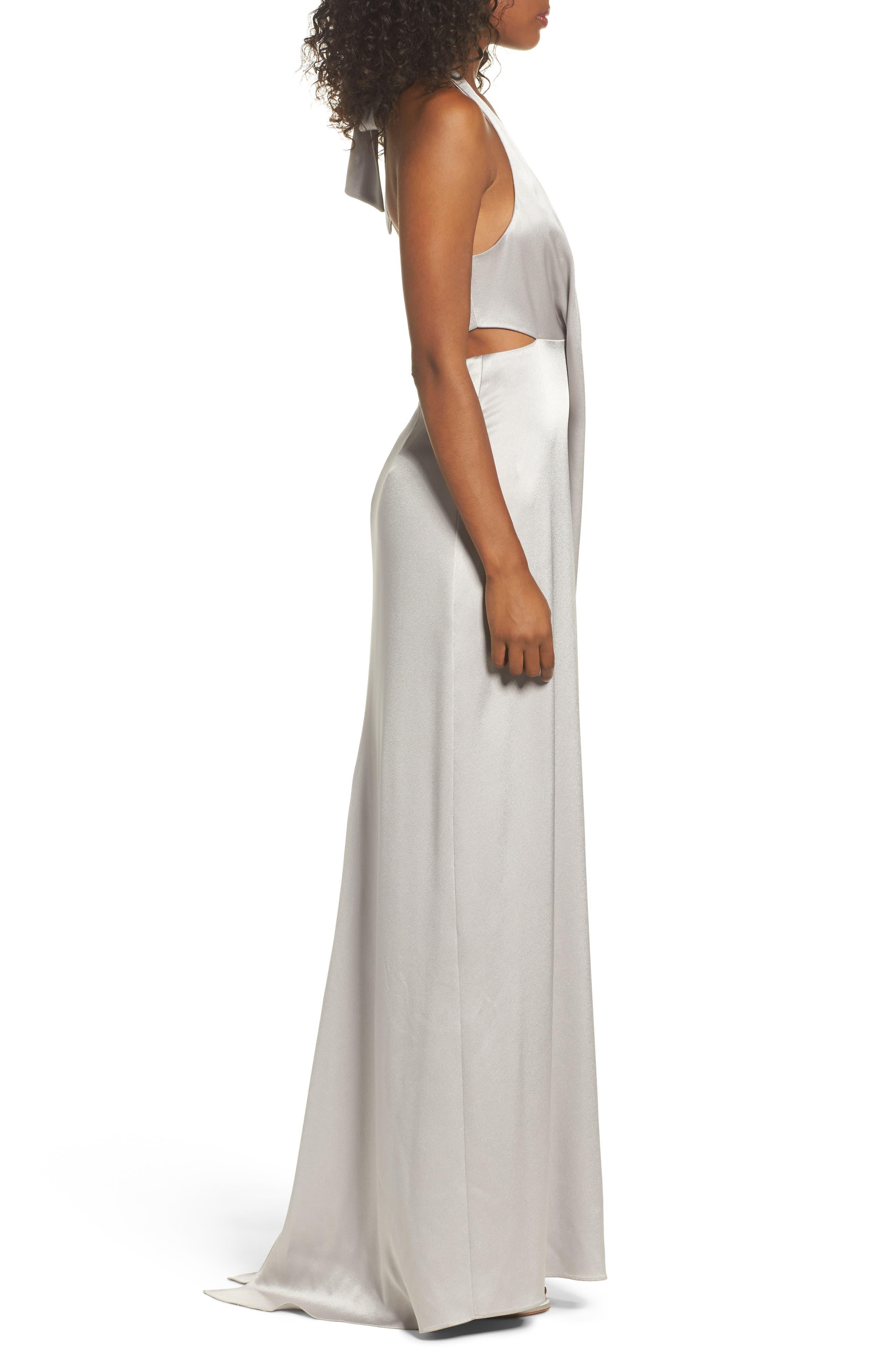 Alternate Image 3  - Halston Heritage V-Neck Draped Satin Gown