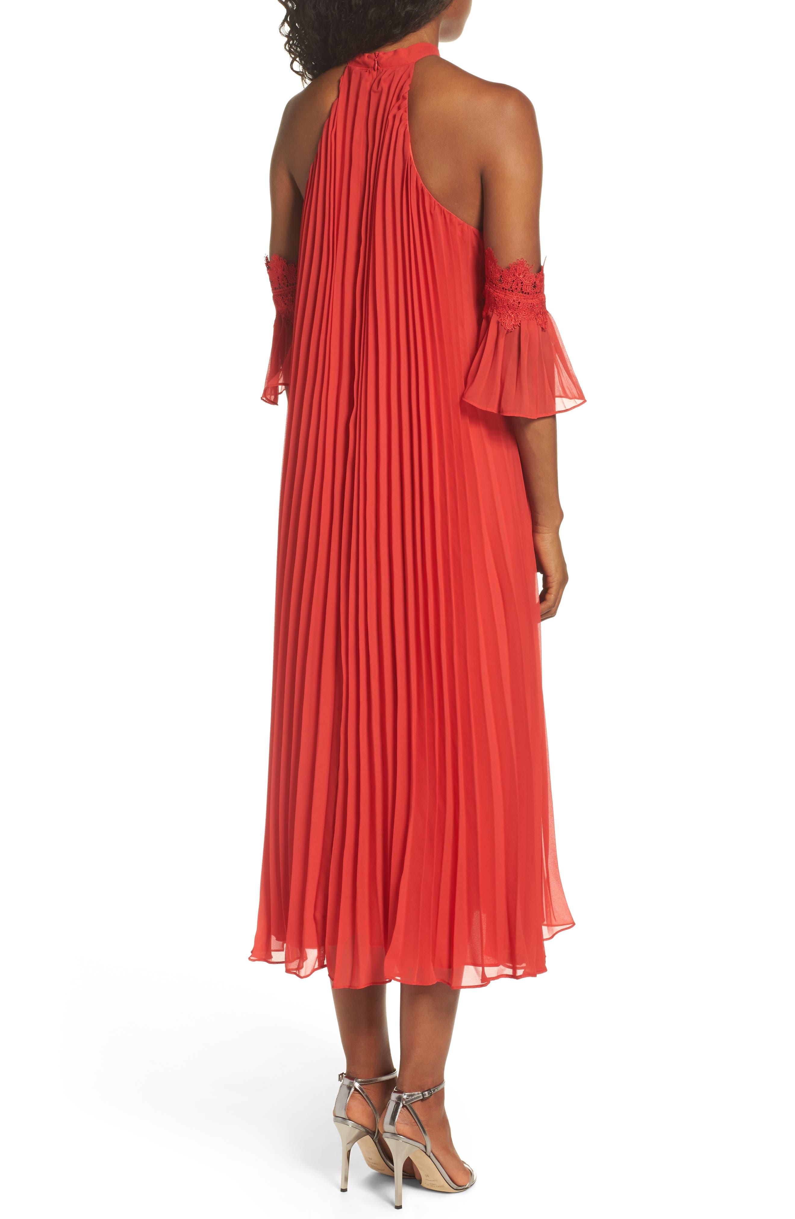 Lace Trim Pleated Midi Dress,                             Alternate thumbnail 2, color,                             Red
