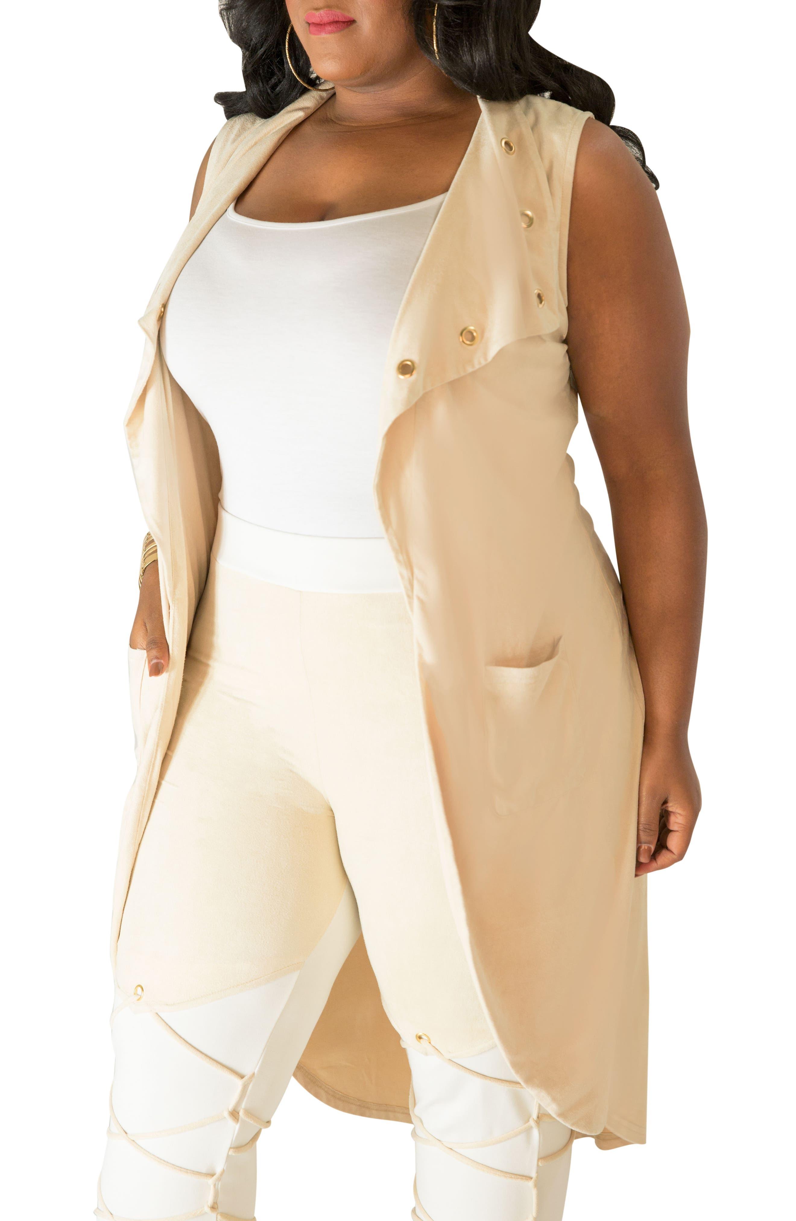 Alternate Image 4  - Poetic Justice Kelis Long Faux Suede Vest (Plus Size)