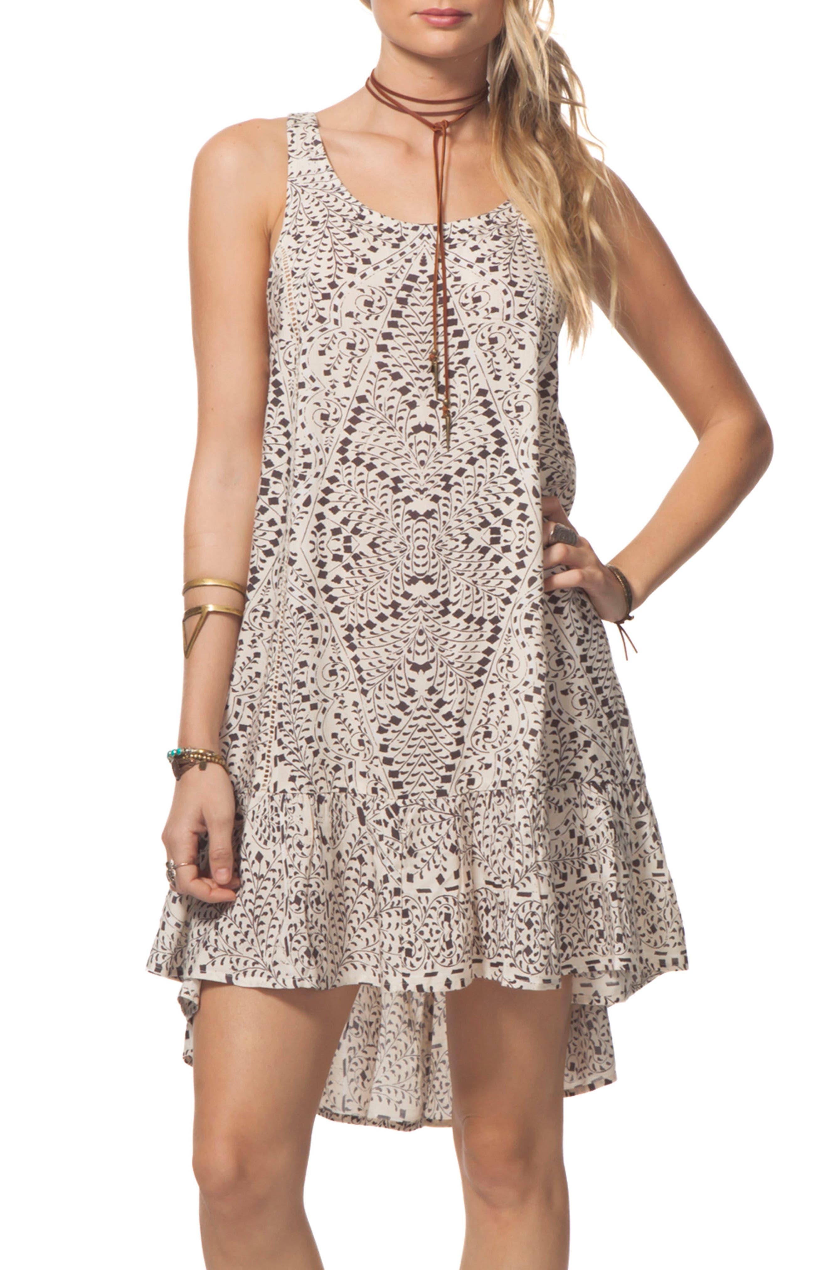 Sun Shadow Print Swing Dress,                         Main,                         color, Vanilla