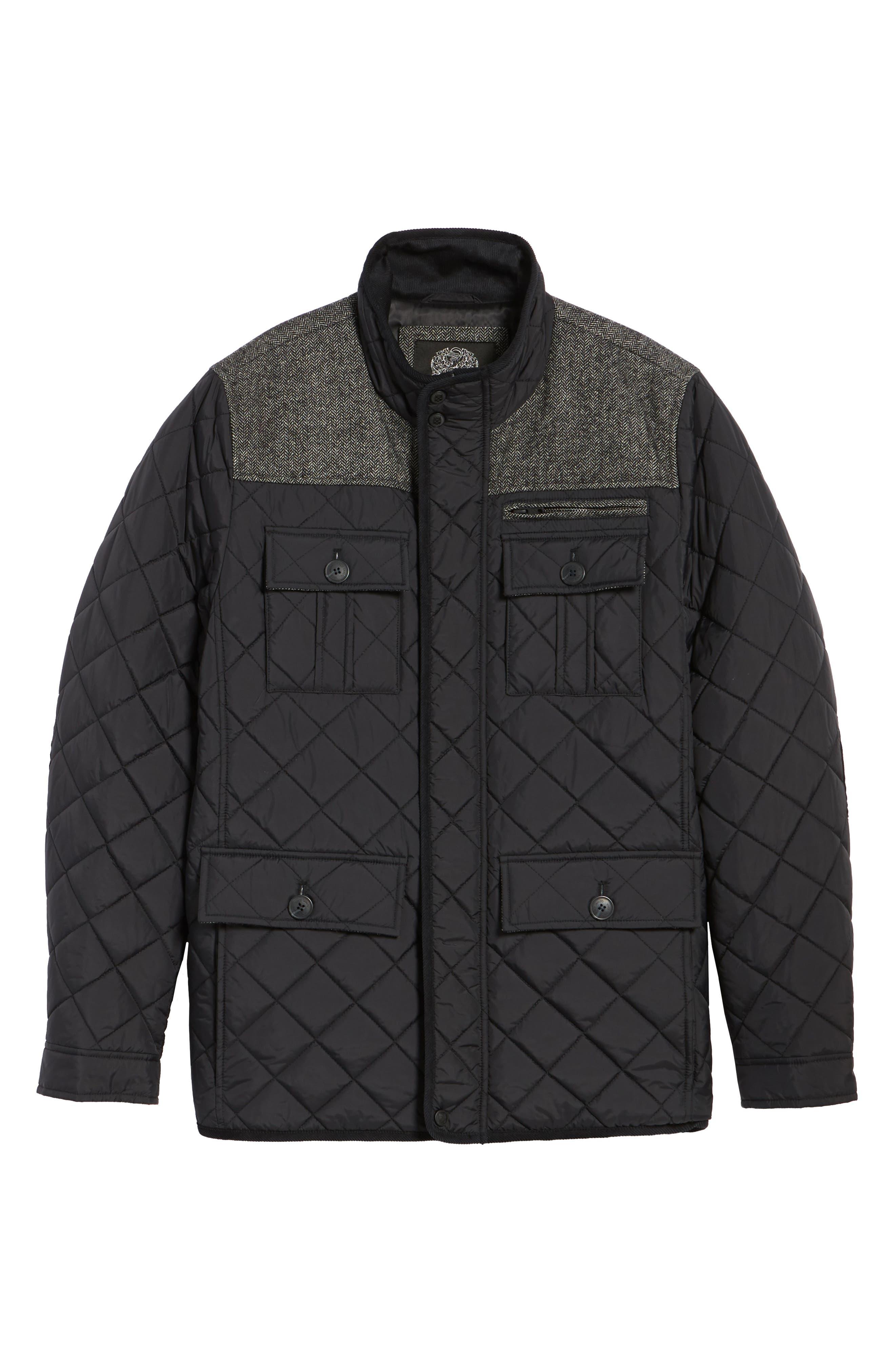 Diamond Quilted Full Zip Jacket,                             Alternate thumbnail 5, color,                             Black