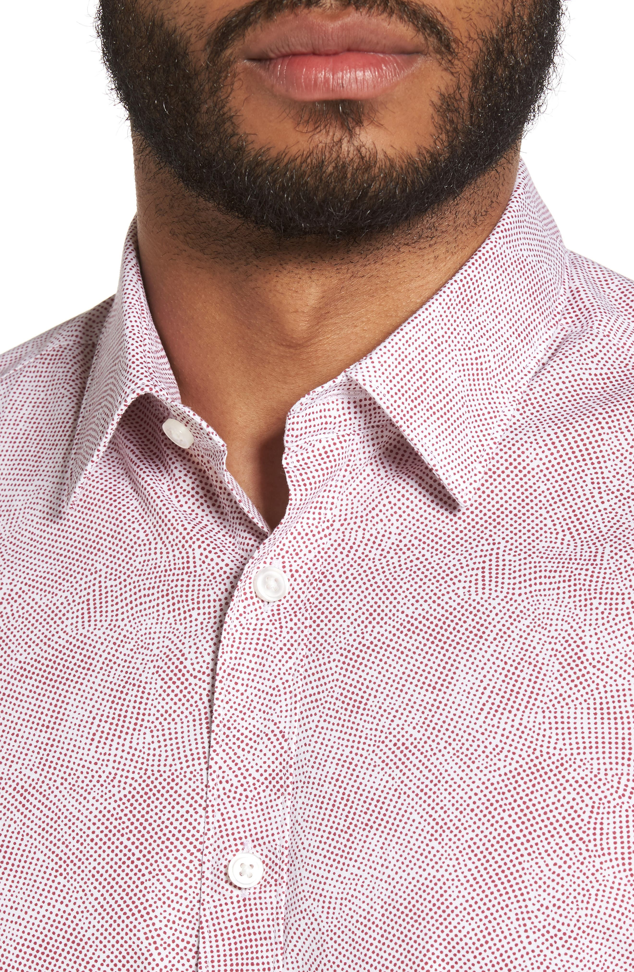 Alternate Image 4  - BOSS Luka Trim Fit Dot Print Sport Shirt