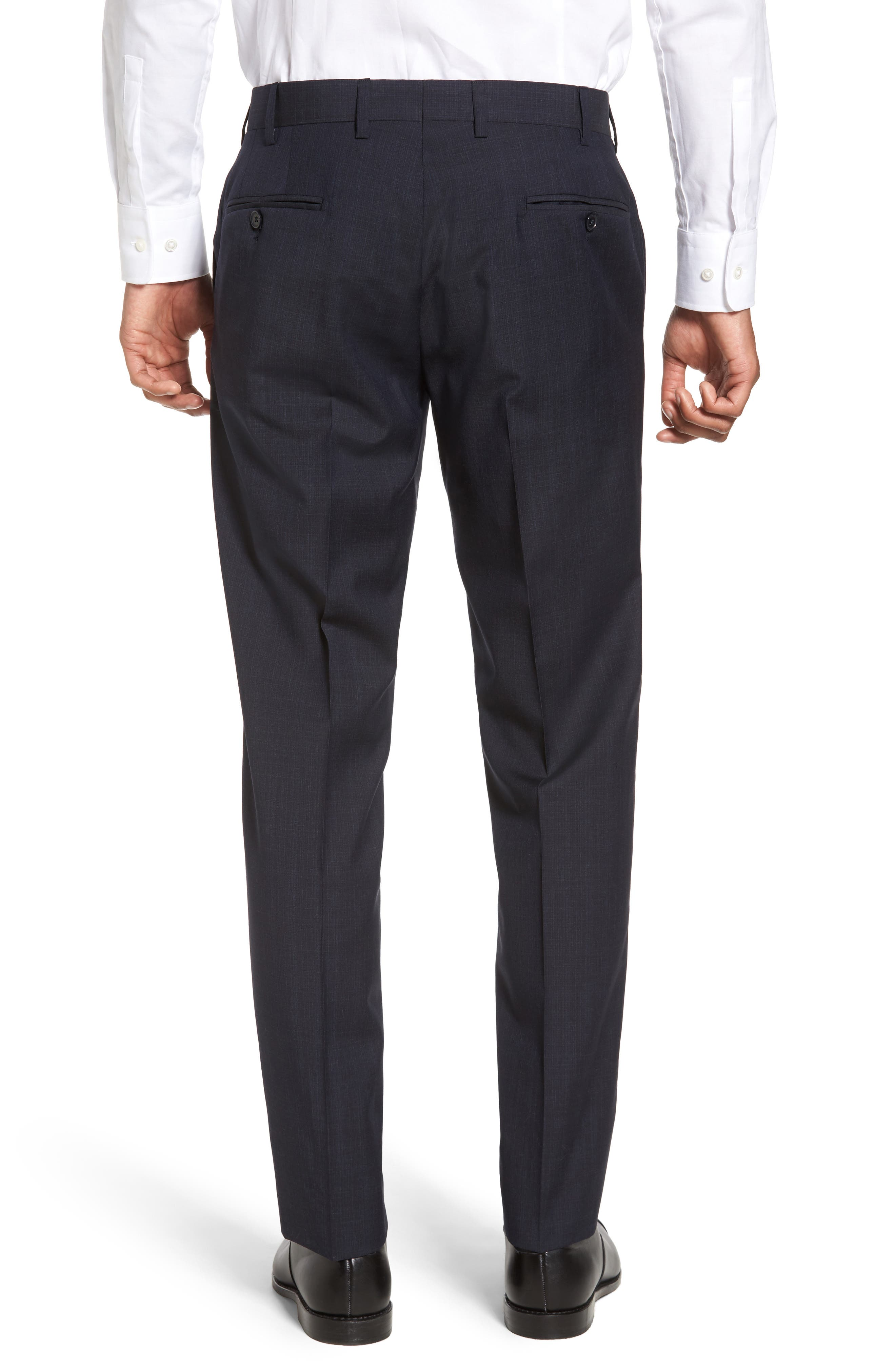 Flat Front Solid Wool Trousers,                             Alternate thumbnail 2, color,                             Navy
