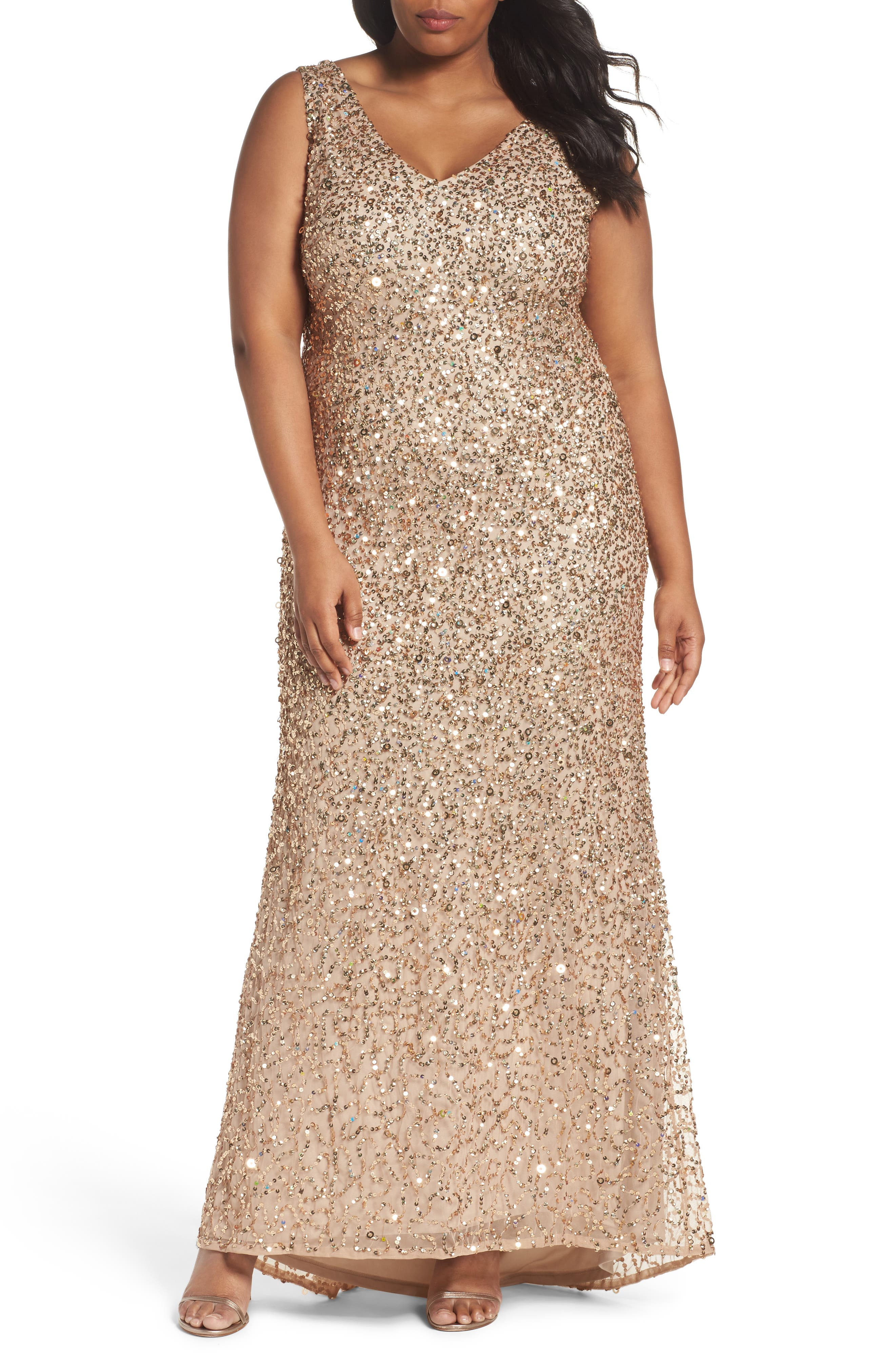 Sequin A-Line Gown,                         Main,                         color, Champagne