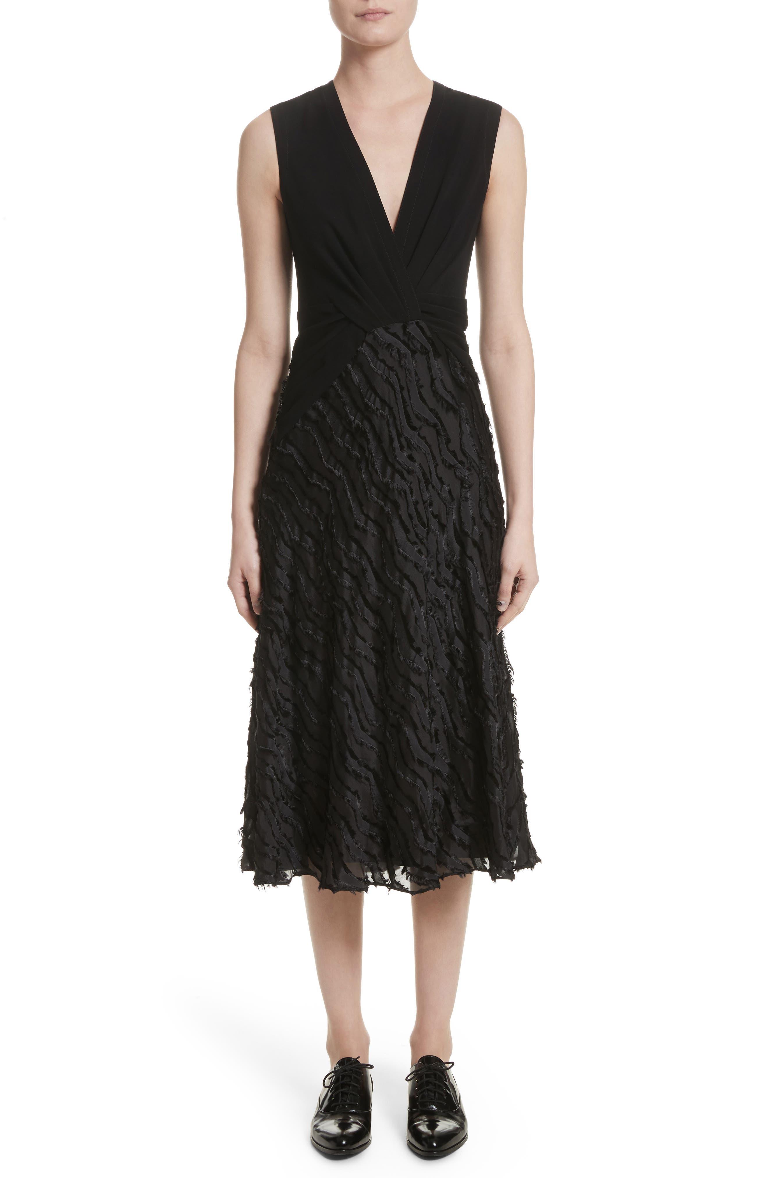 Chevron Fringe Fil Coupé Dress,                         Main,                         color, Black