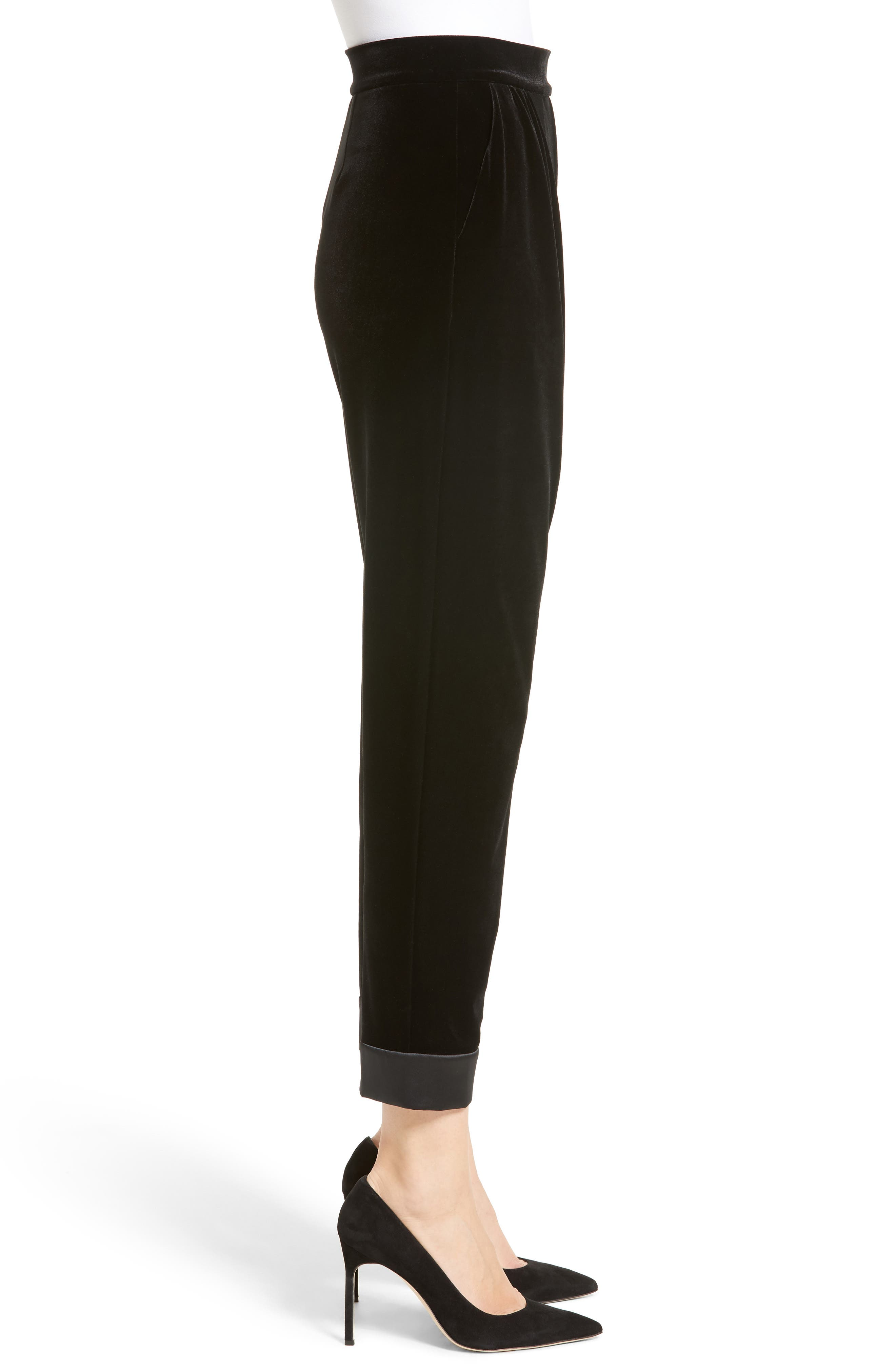 Alternate Image 5  - Armani Collezioni Stretch Velvet Ankle Pants