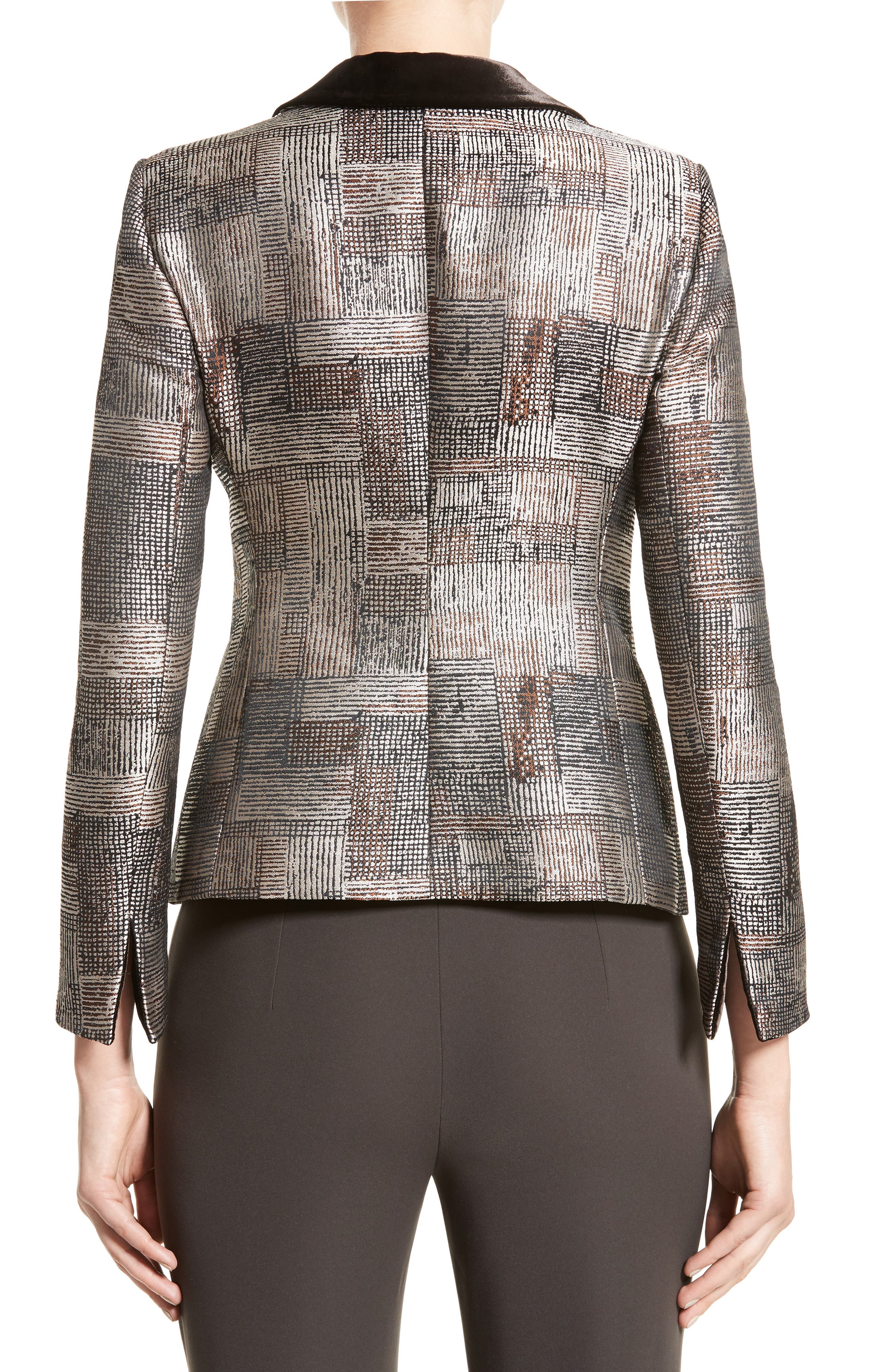 Alternate Image 2  - Armani Collezioni Panel Jacquard Asymmetrical Jacket