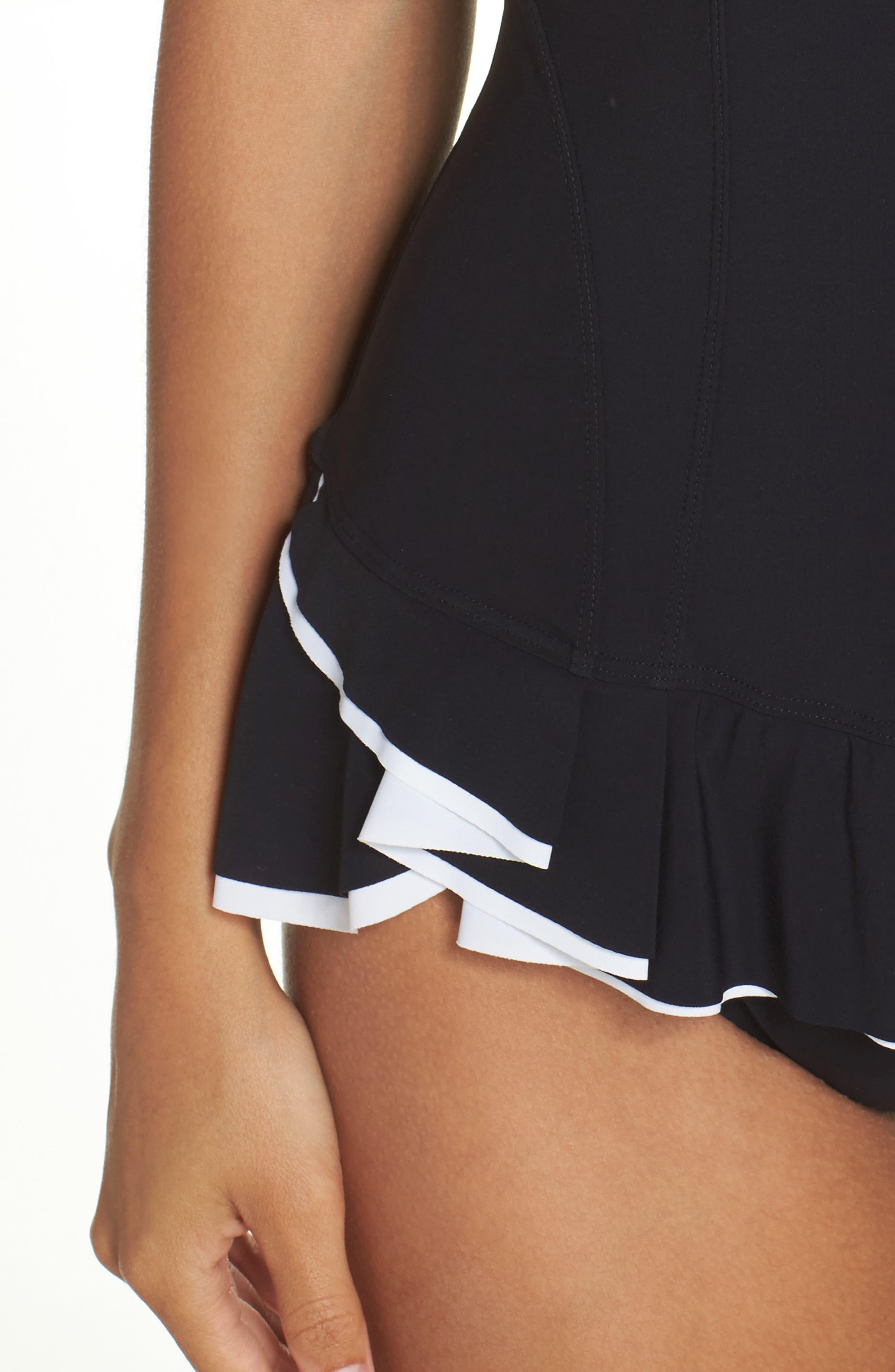 Belle Curve Peplum One-Piece Swimsuit,                             Alternate thumbnail 4, color,                             Black/ White