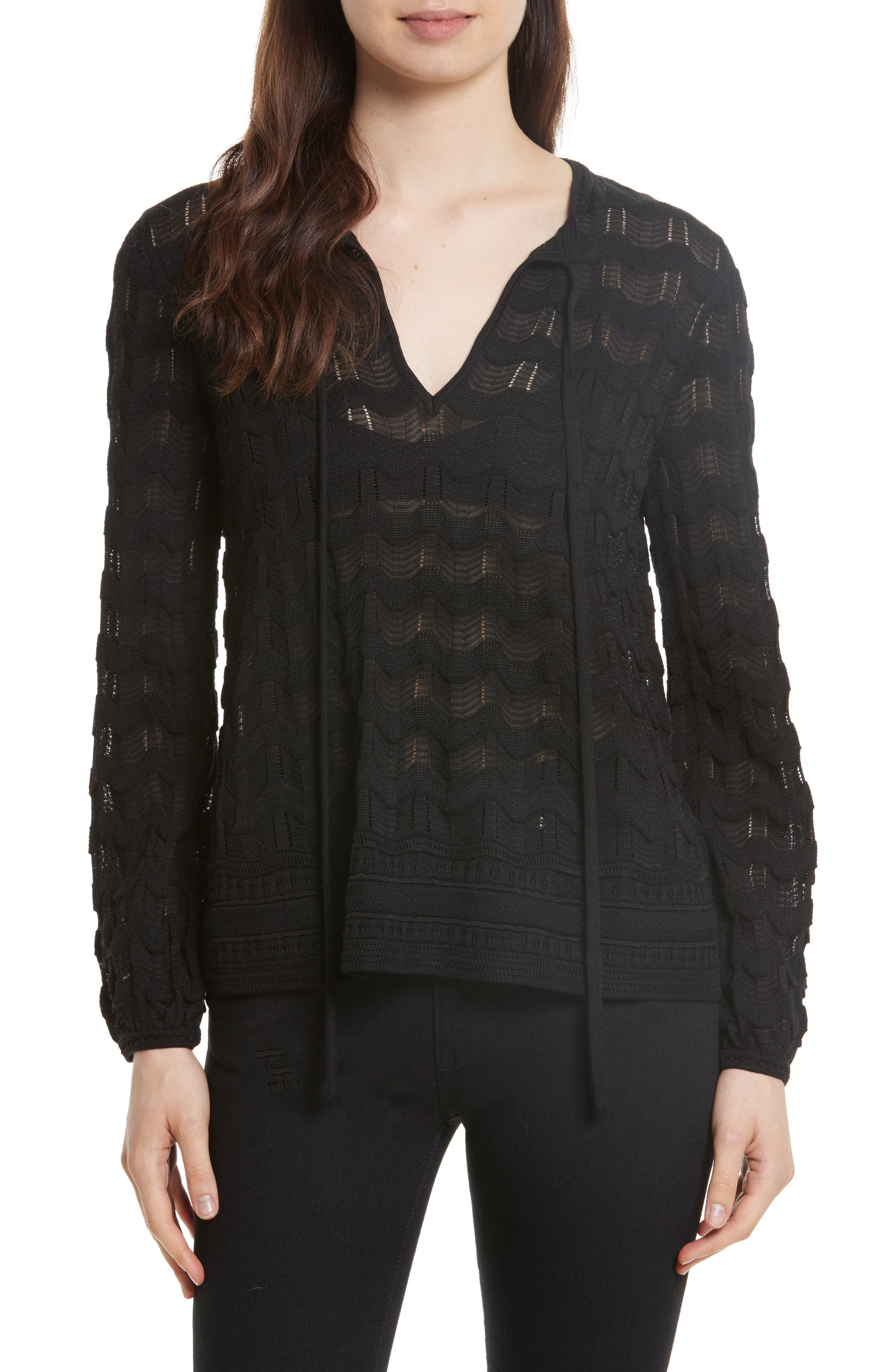 Main Image - M Missoni Tie Neck Openwork Knit Top