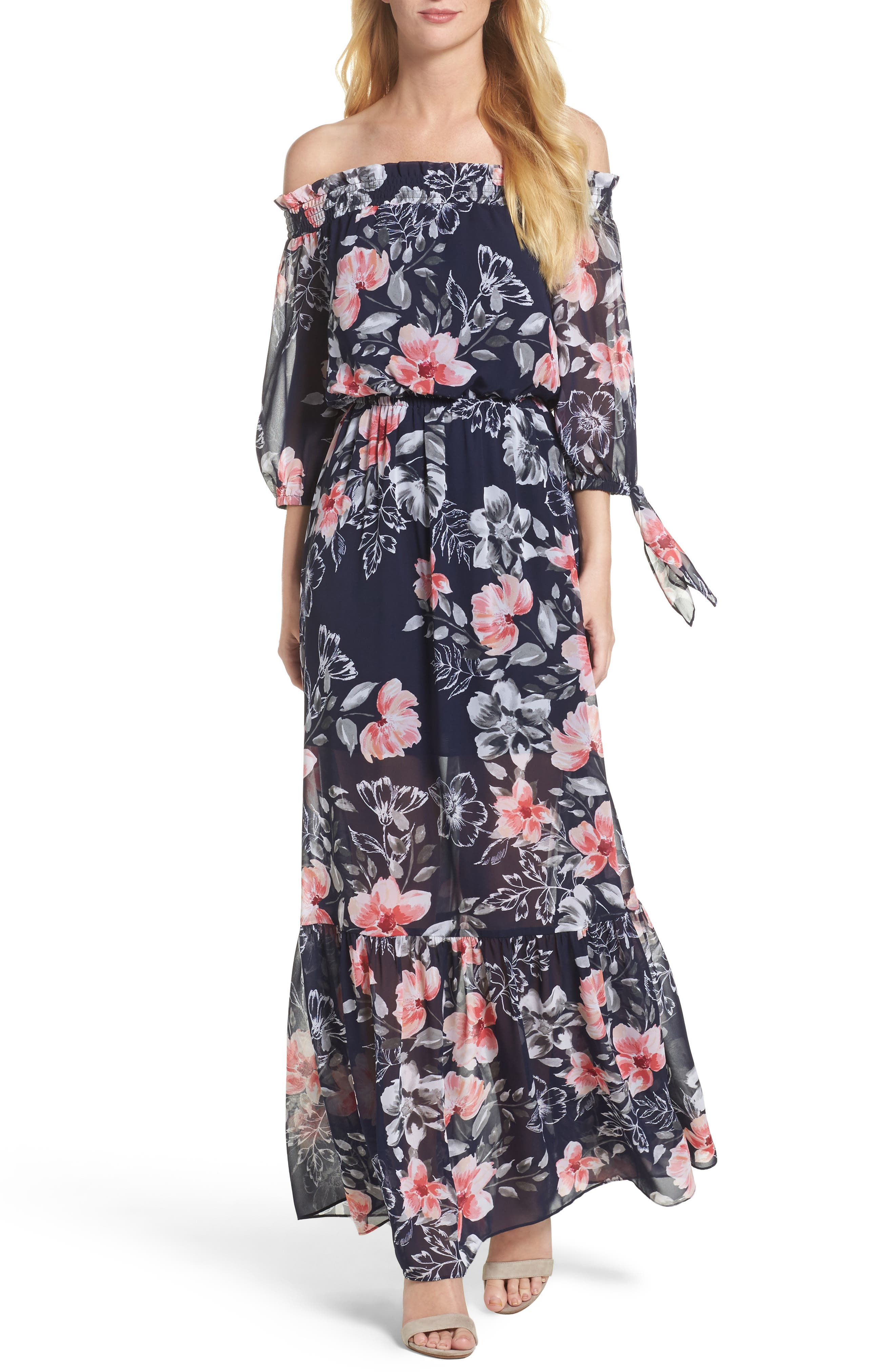VINCE CAMUTO Off the Shoulder Chiffon Maxi Dress
