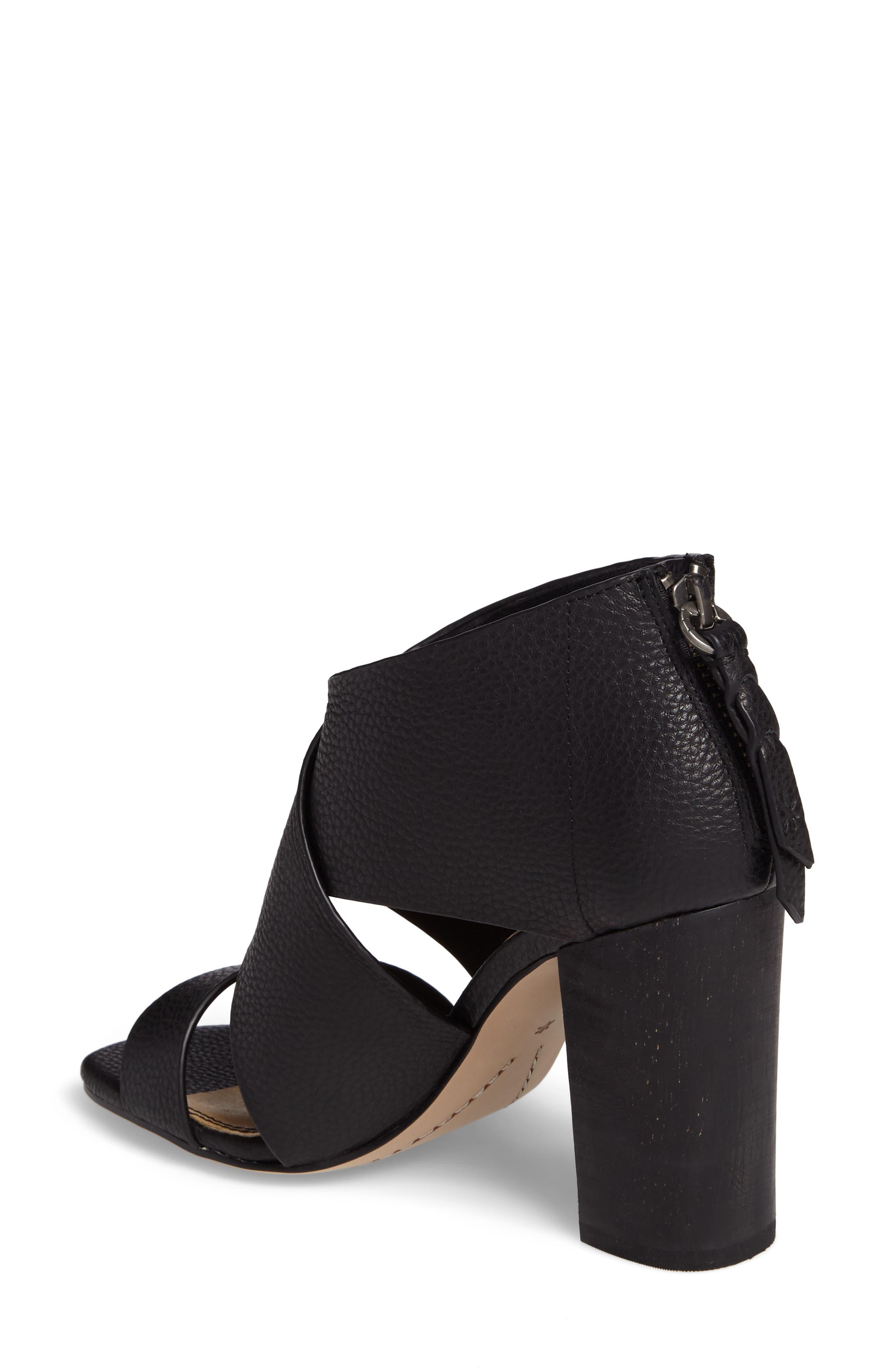 Danett Cross Strap Sandal,                             Alternate thumbnail 2, color,                             Black Leather