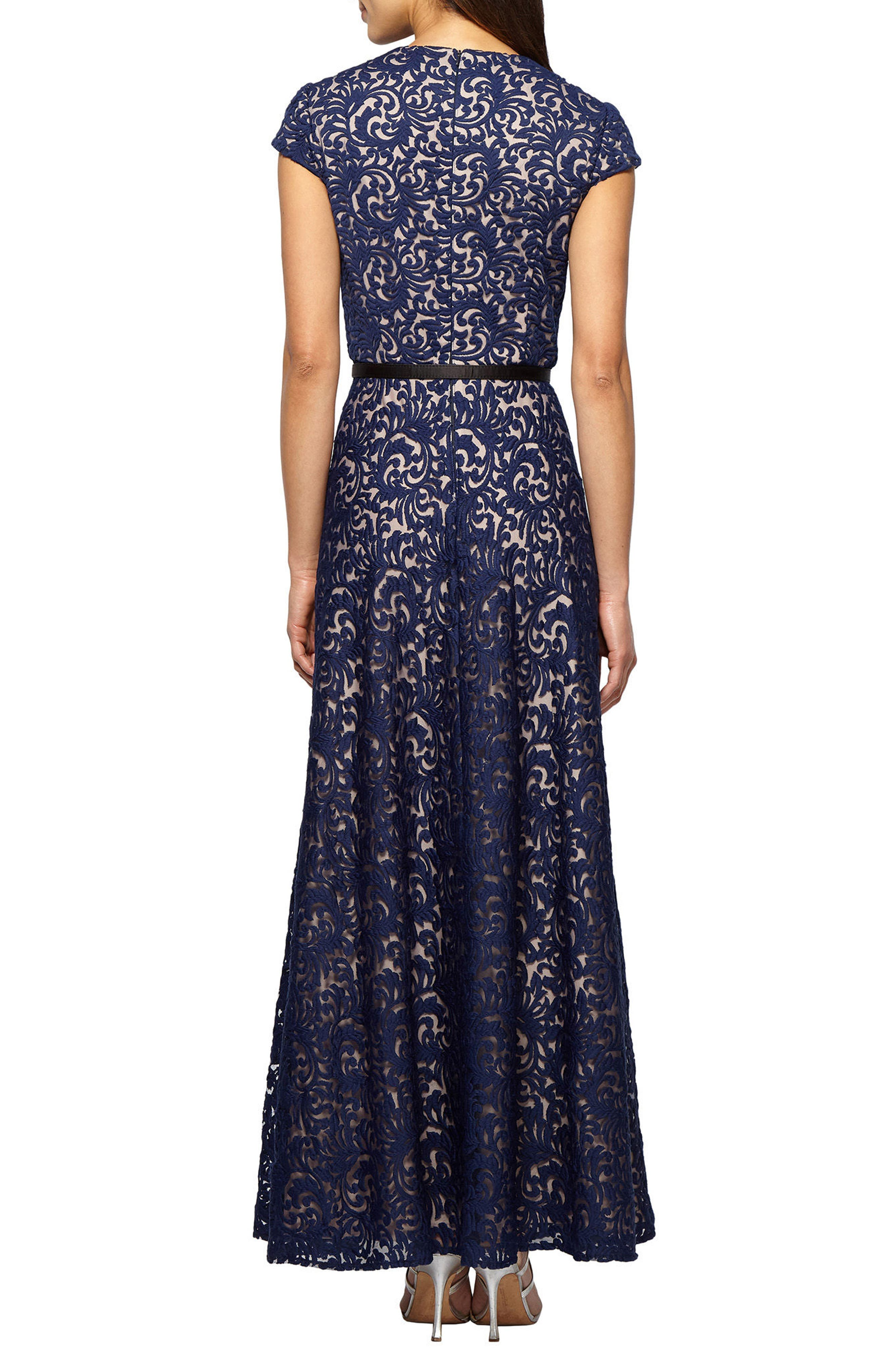 Embroidered Gown,                             Alternate thumbnail 2, color,                             Navy/ Nude