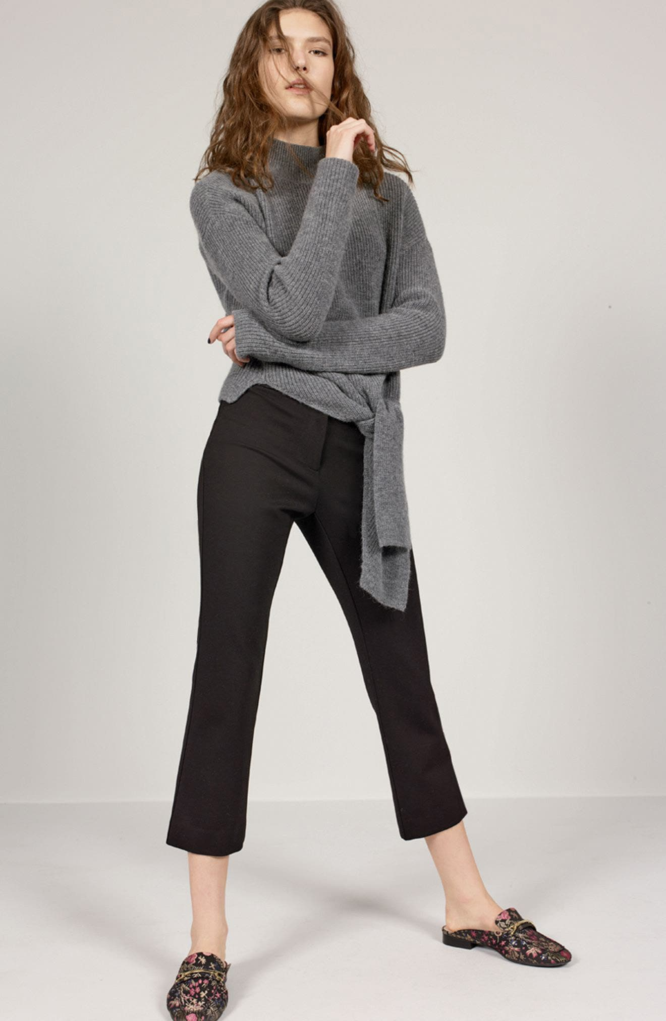 Tie Hem Sweater,                             Alternate thumbnail 2, color,                             Heather Dark Grey