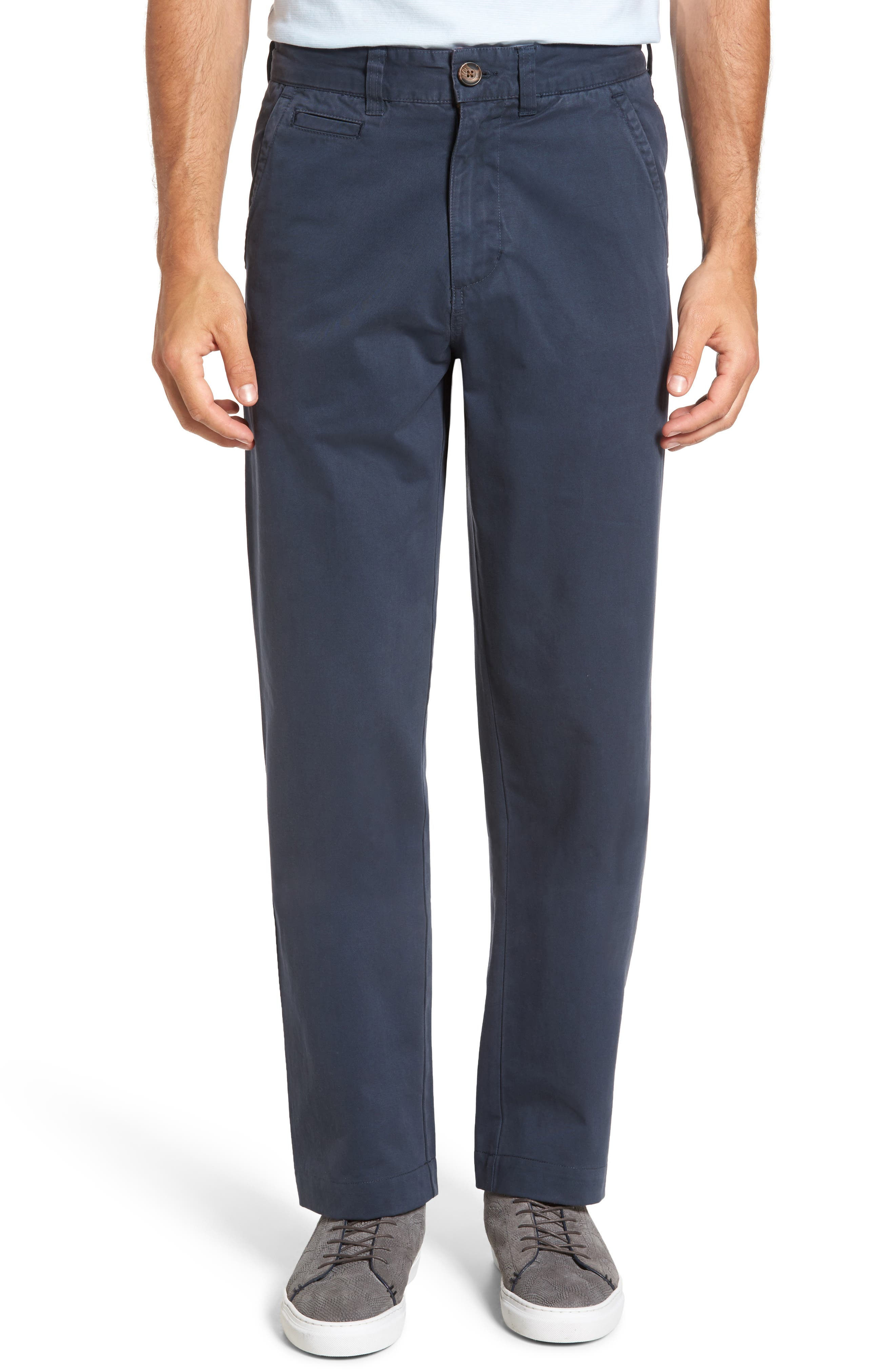 VINTAGE 1946 Classic Fit Military Chinos in Navy