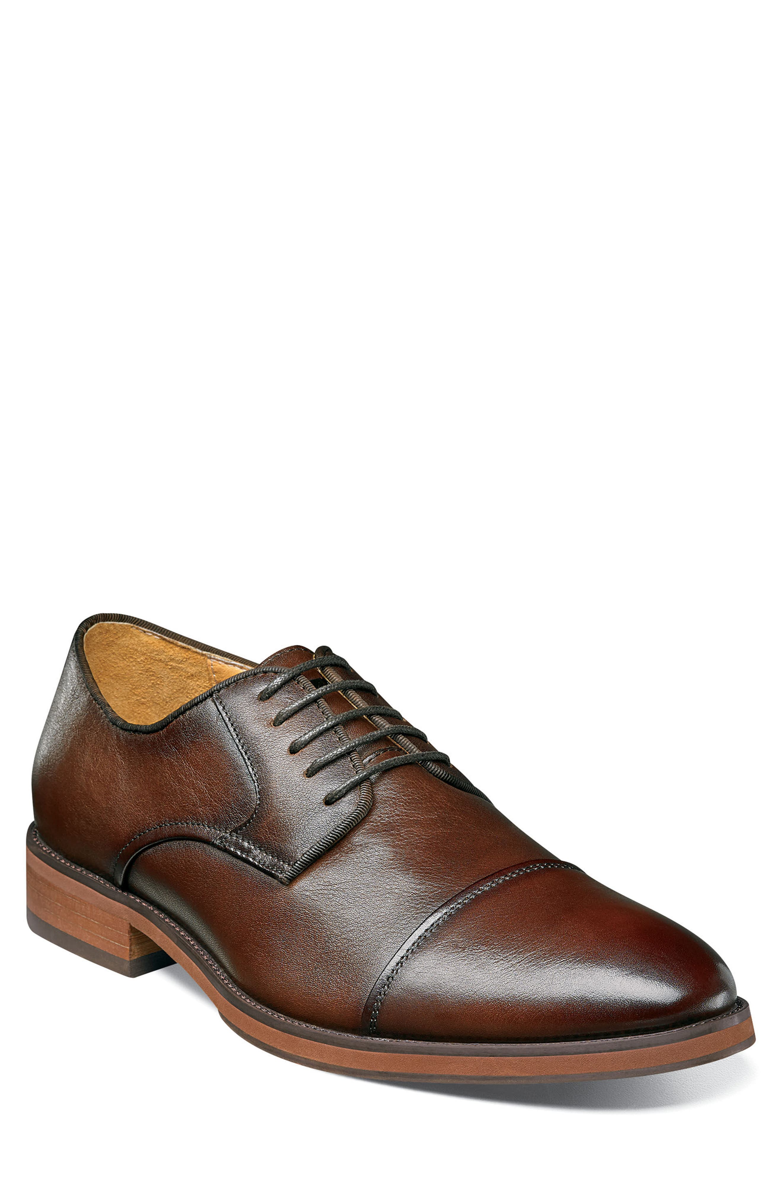 Blaze Cap Toe Derby,                             Main thumbnail 1, color,                             Cognac Leather