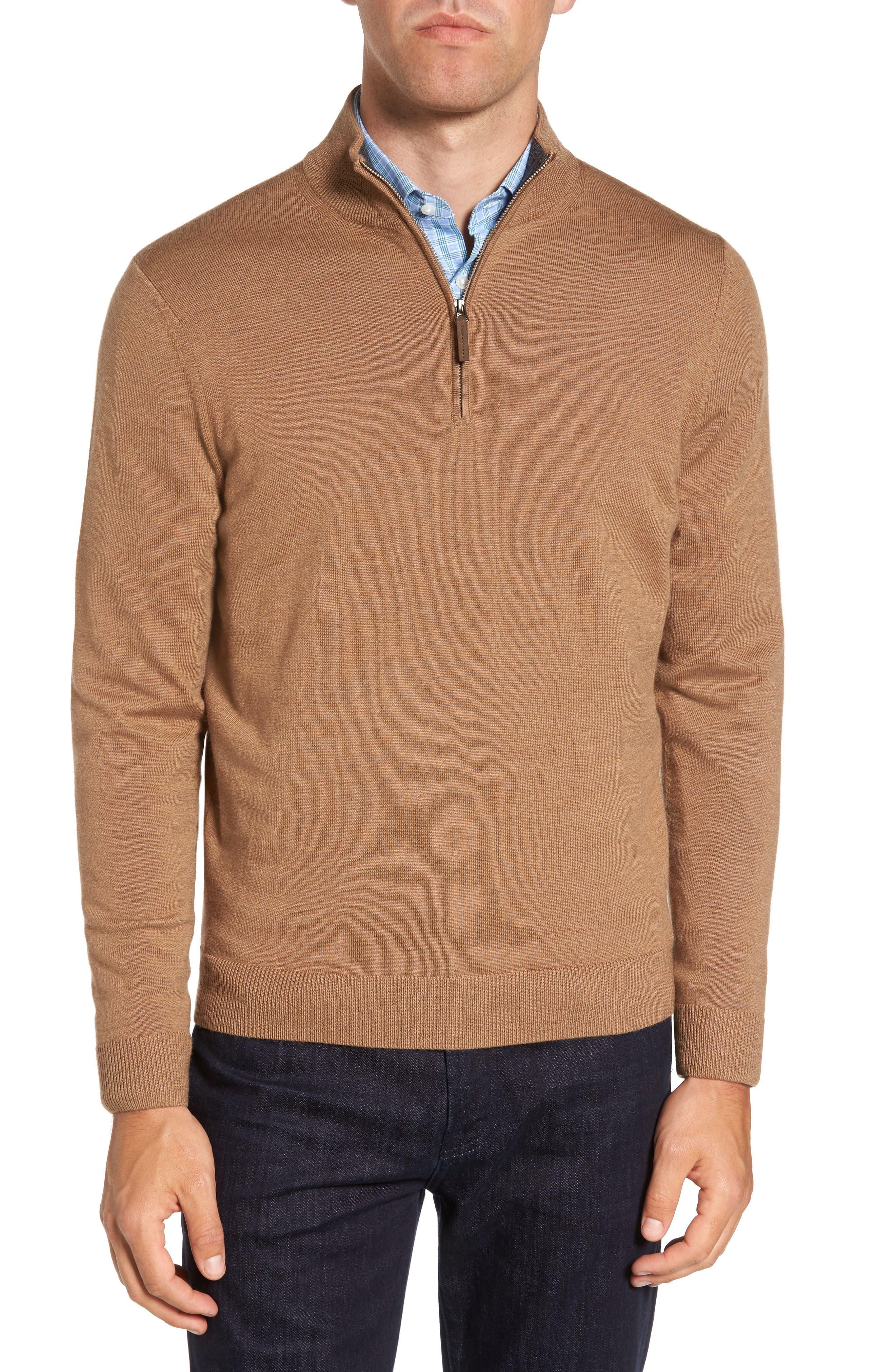 Nordstrom Men's Shop Quarter Zip Wool Pullover