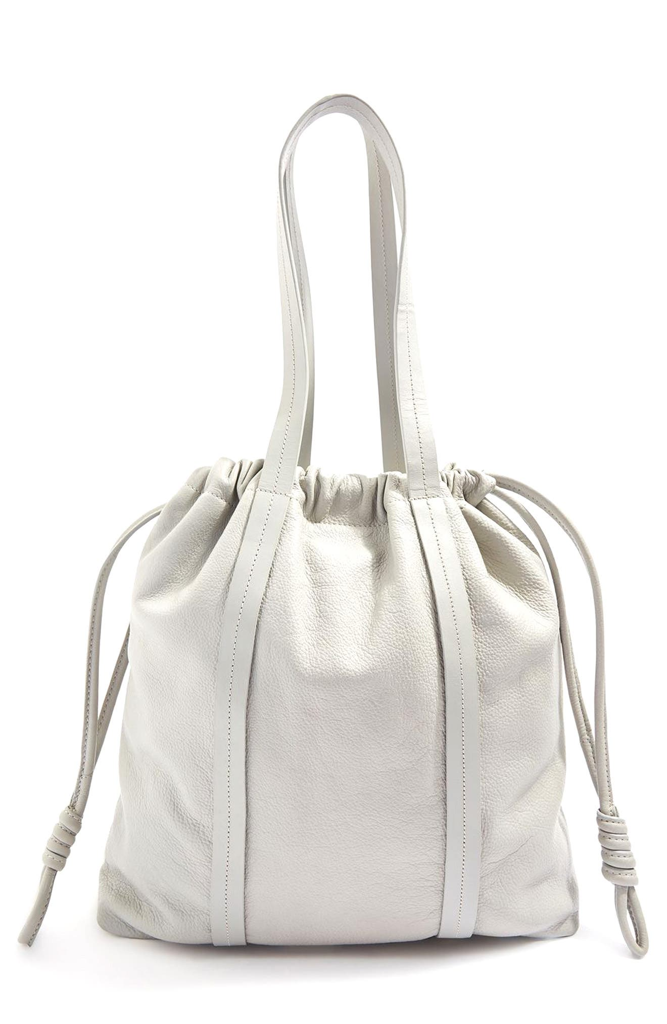 Premium Leather Drawstring Shoulder Bag,                         Main,                         color, Grey