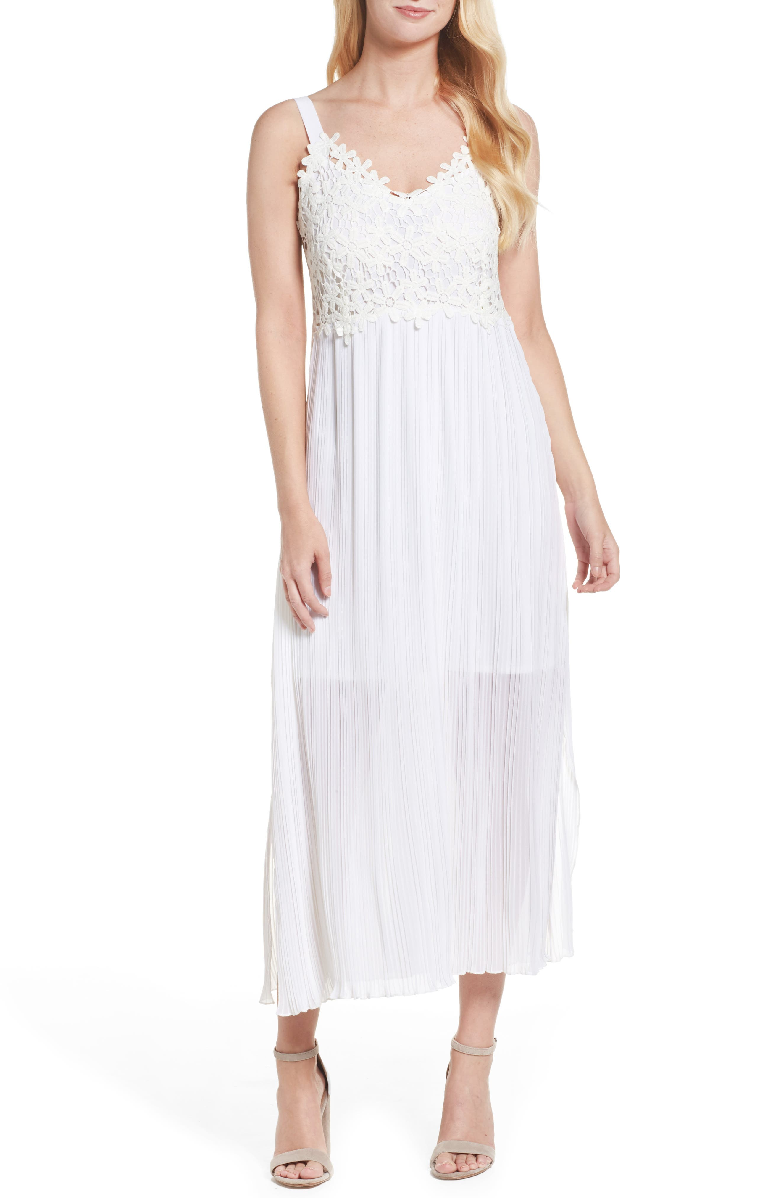 French Coonection Posy Lace Midi Dress,                         Main,                         color, White