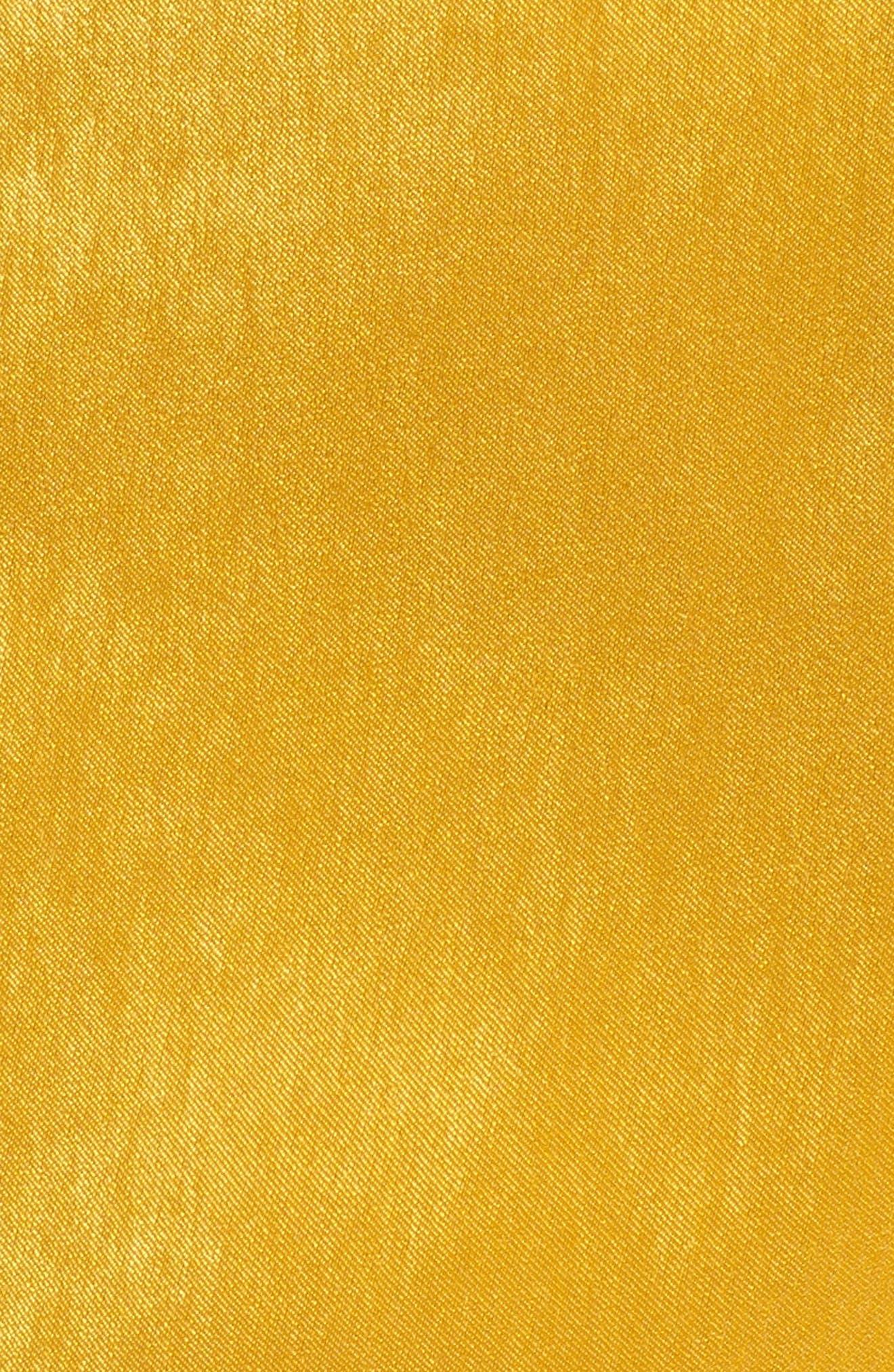 Satin Cold Shoulder Jumpsuit,                             Alternate thumbnail 6, color,                             Mustard