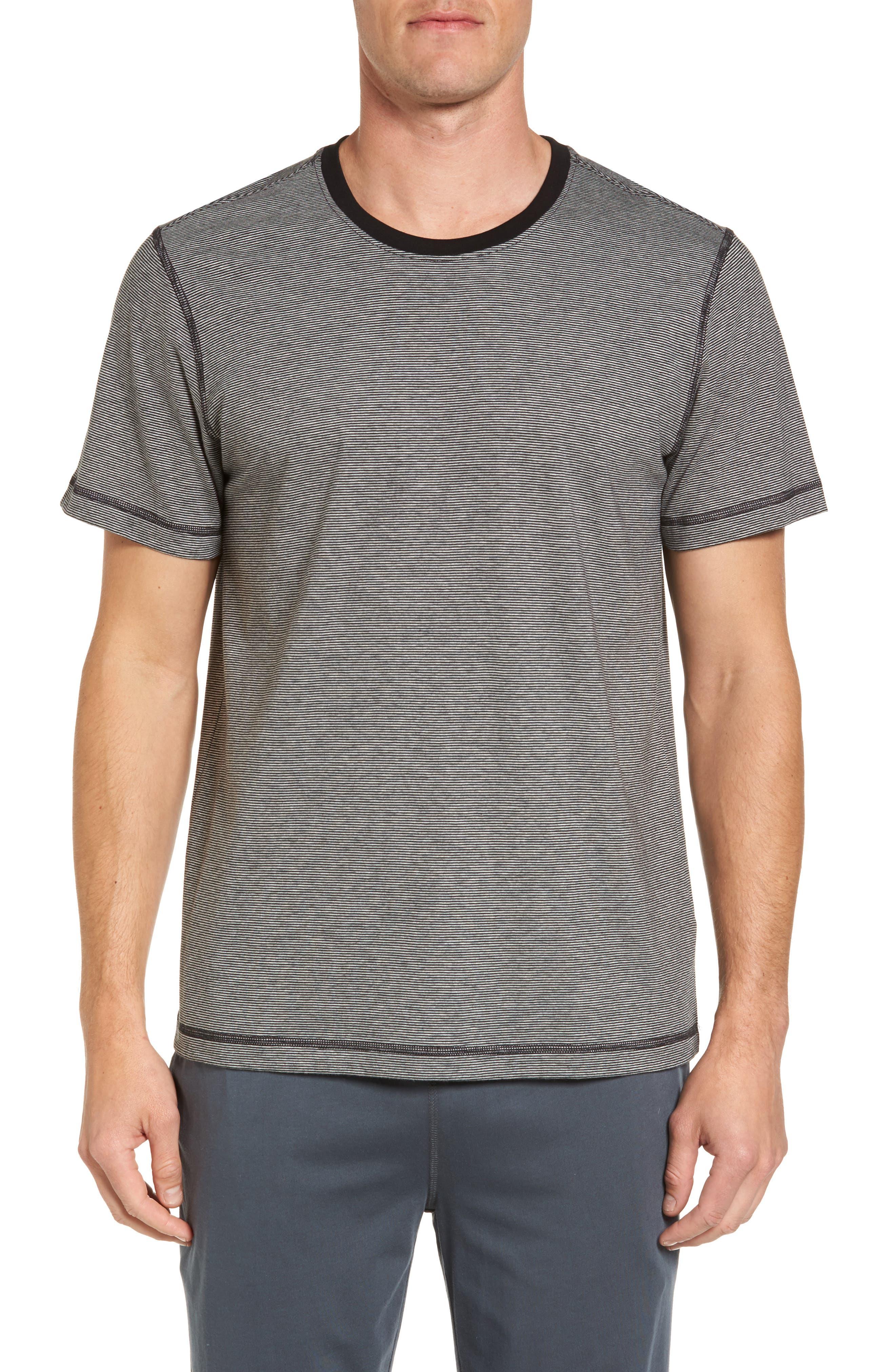 Peruvian Pima Cotton T-Shirt,                         Main,                         color, Black/ Grey Heather