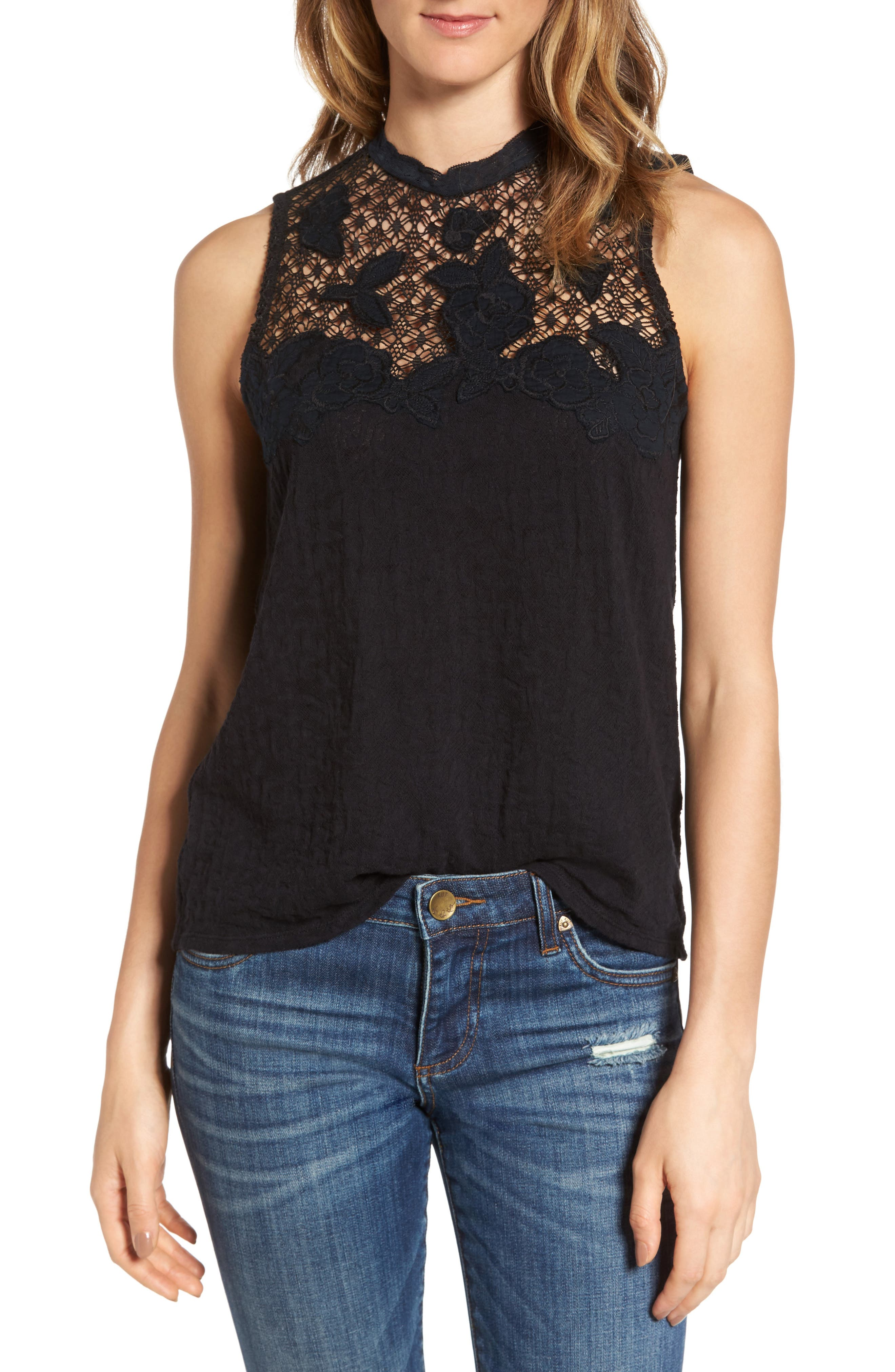 Alternate Image 1 Selected - Lucky Brand Lace Mock Neck