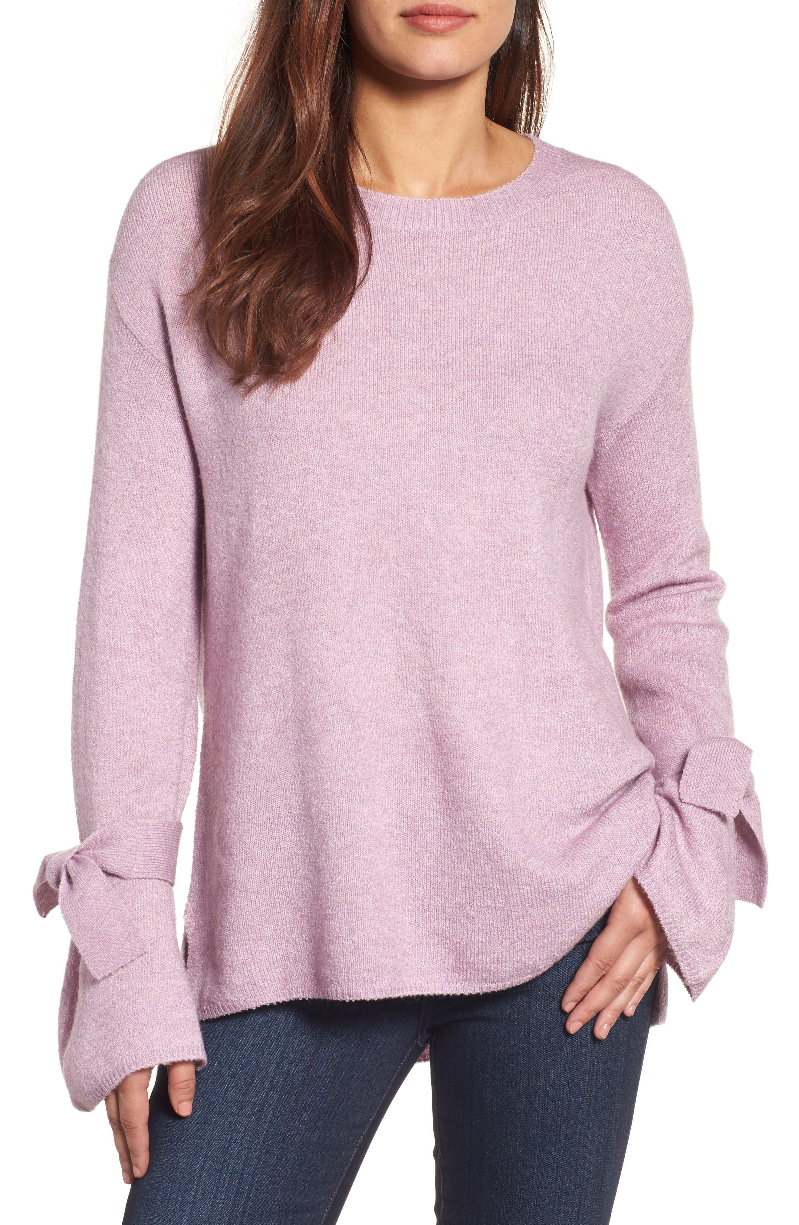 Tie Bell Sleeve Sweater,                         Main,                         color, Purple Mist