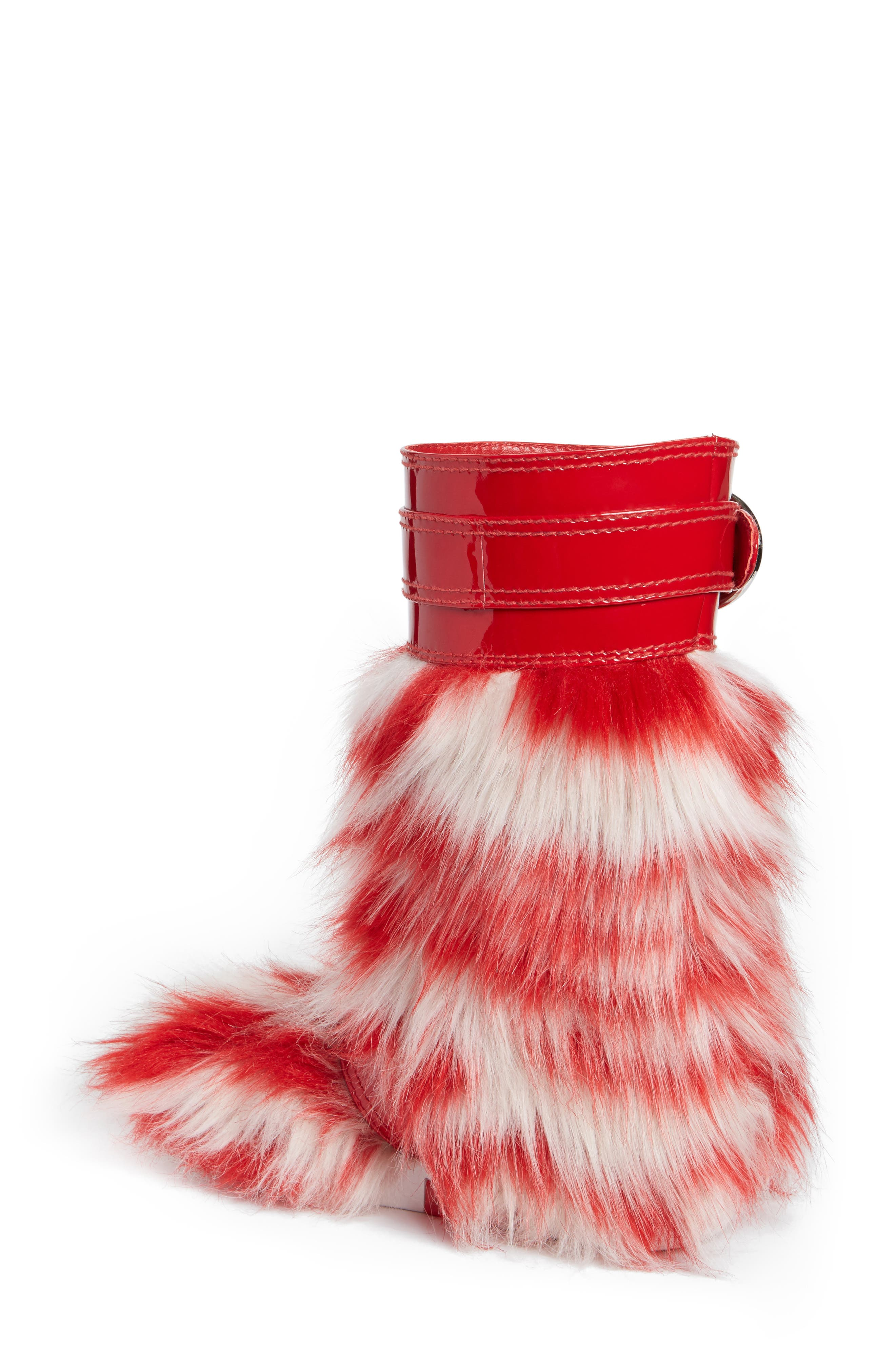 Faux Fur Boot,                             Alternate thumbnail 2, color,                             Red/ White