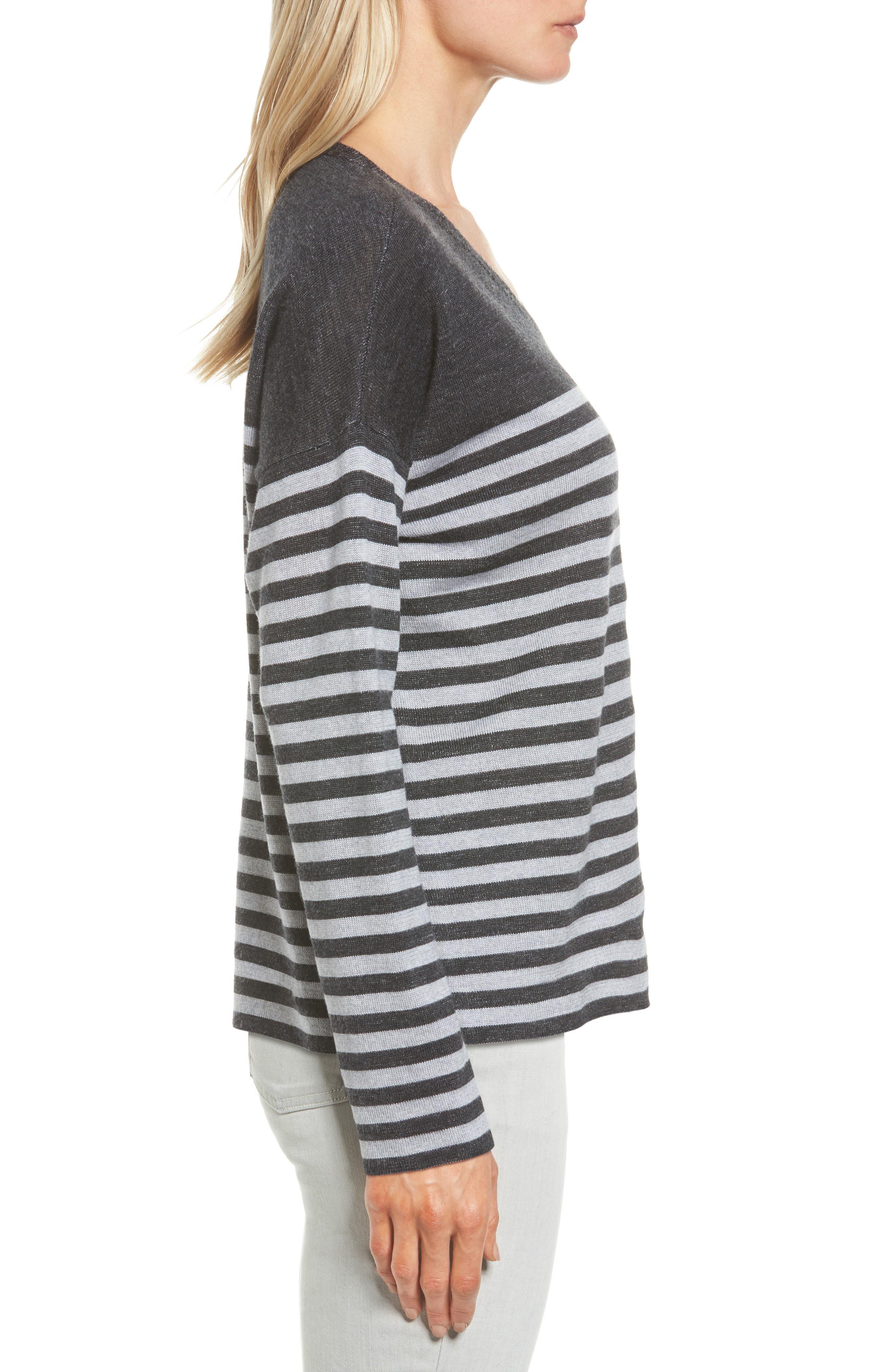 Stripe Merino Wool Pullover,                             Alternate thumbnail 3, color,                             Charcoal/ Dark Pearl