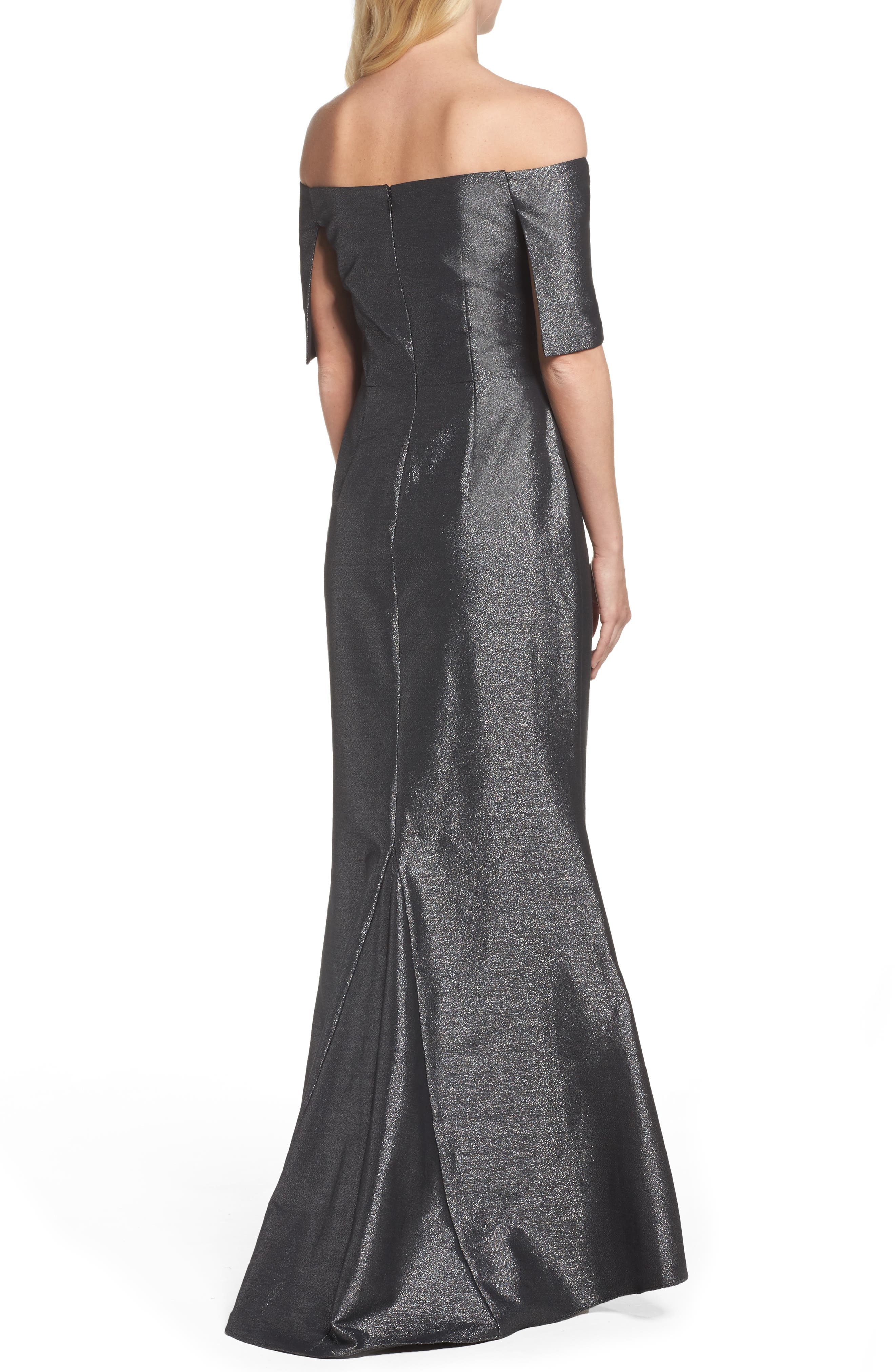 Ruched Metallic Knit Off the Shoulder Gown,                             Alternate thumbnail 2, color,                             Silver