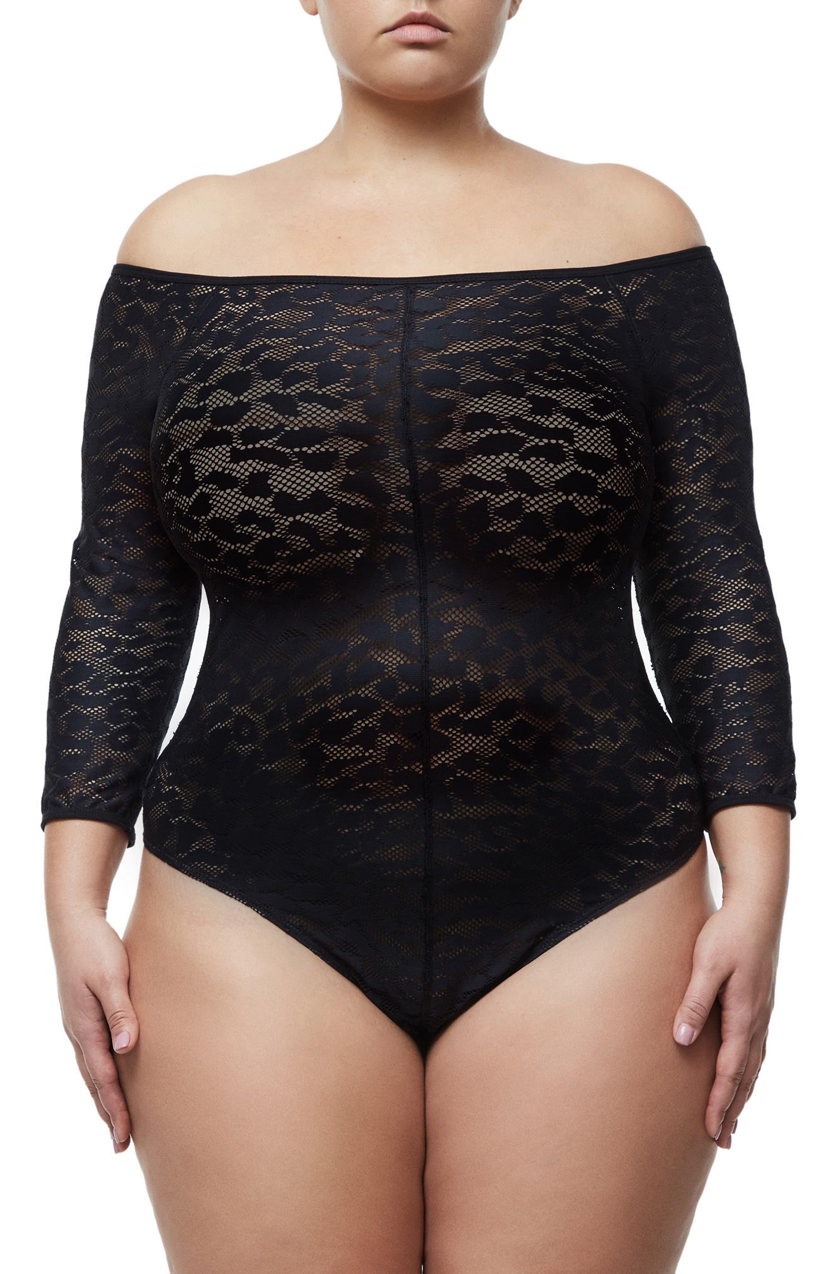 Good Body Shoulder Action Bodysuit,                             Alternate thumbnail 5, color,                             Black