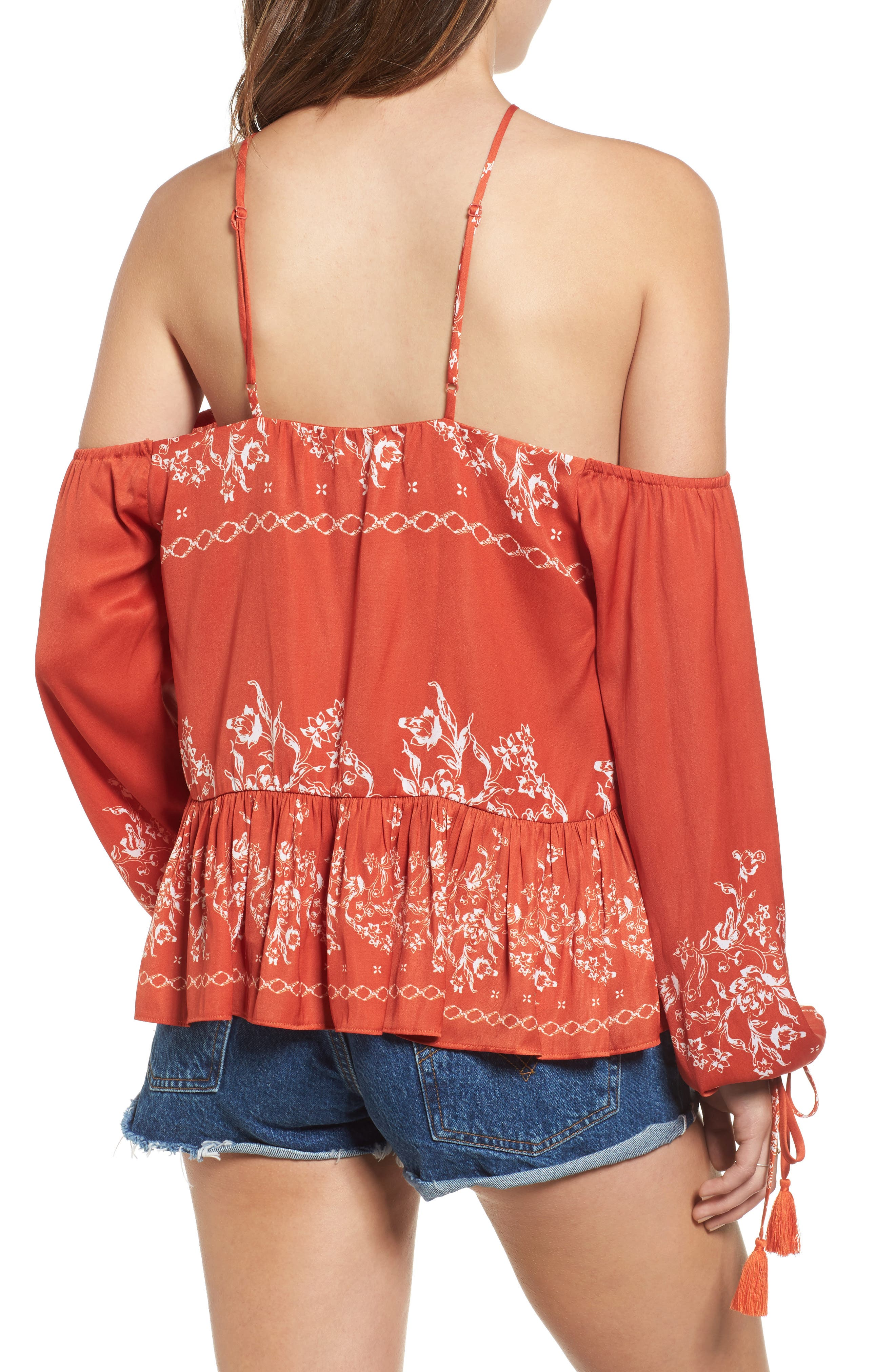 Alternate Image 3  - Tularosa Syrah Floral Print Cold Shoulder Top