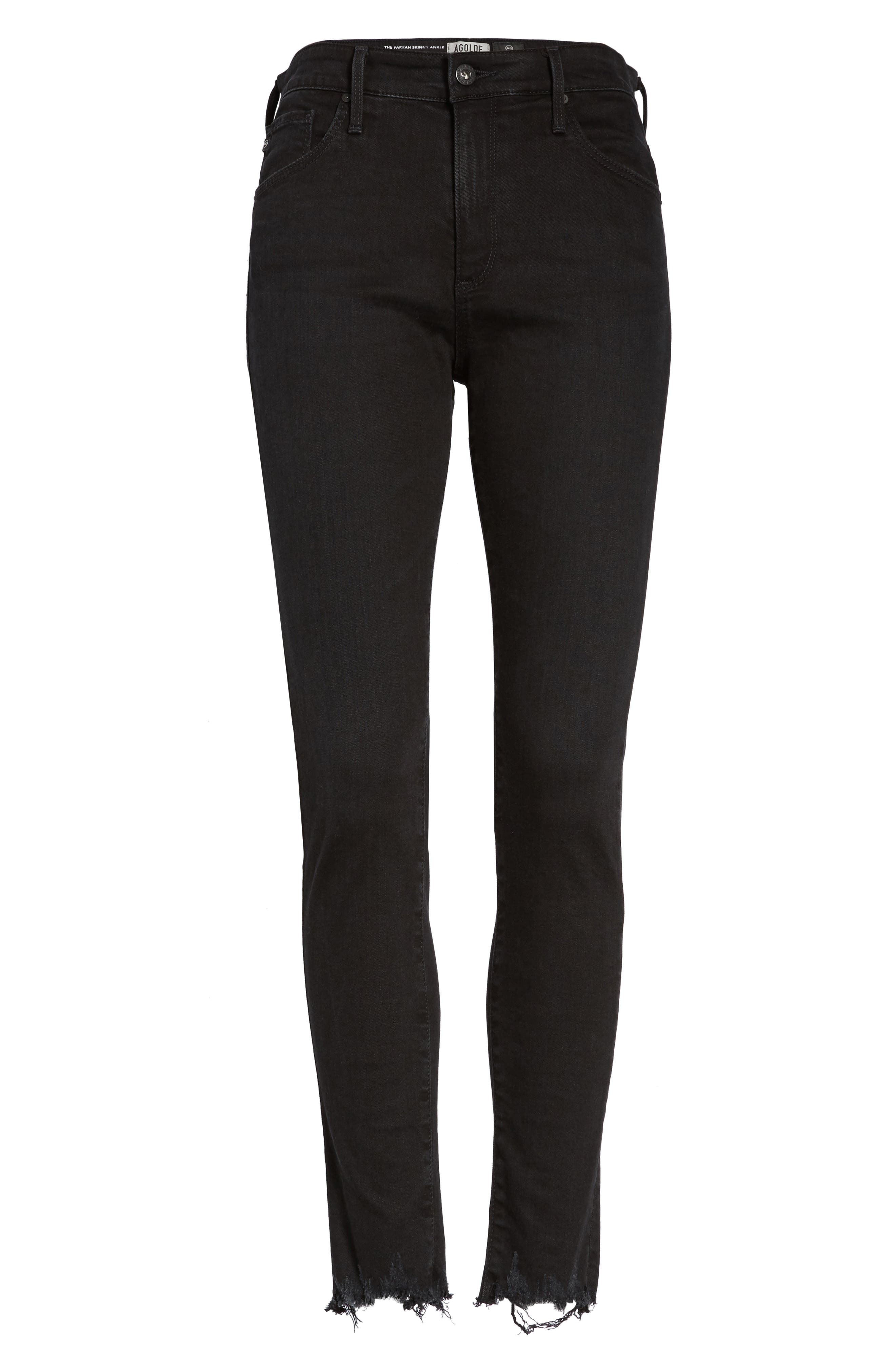 Alternate Image 6  - AG Farrah High Waist Ankle Skinny Jeans (Black Storm)