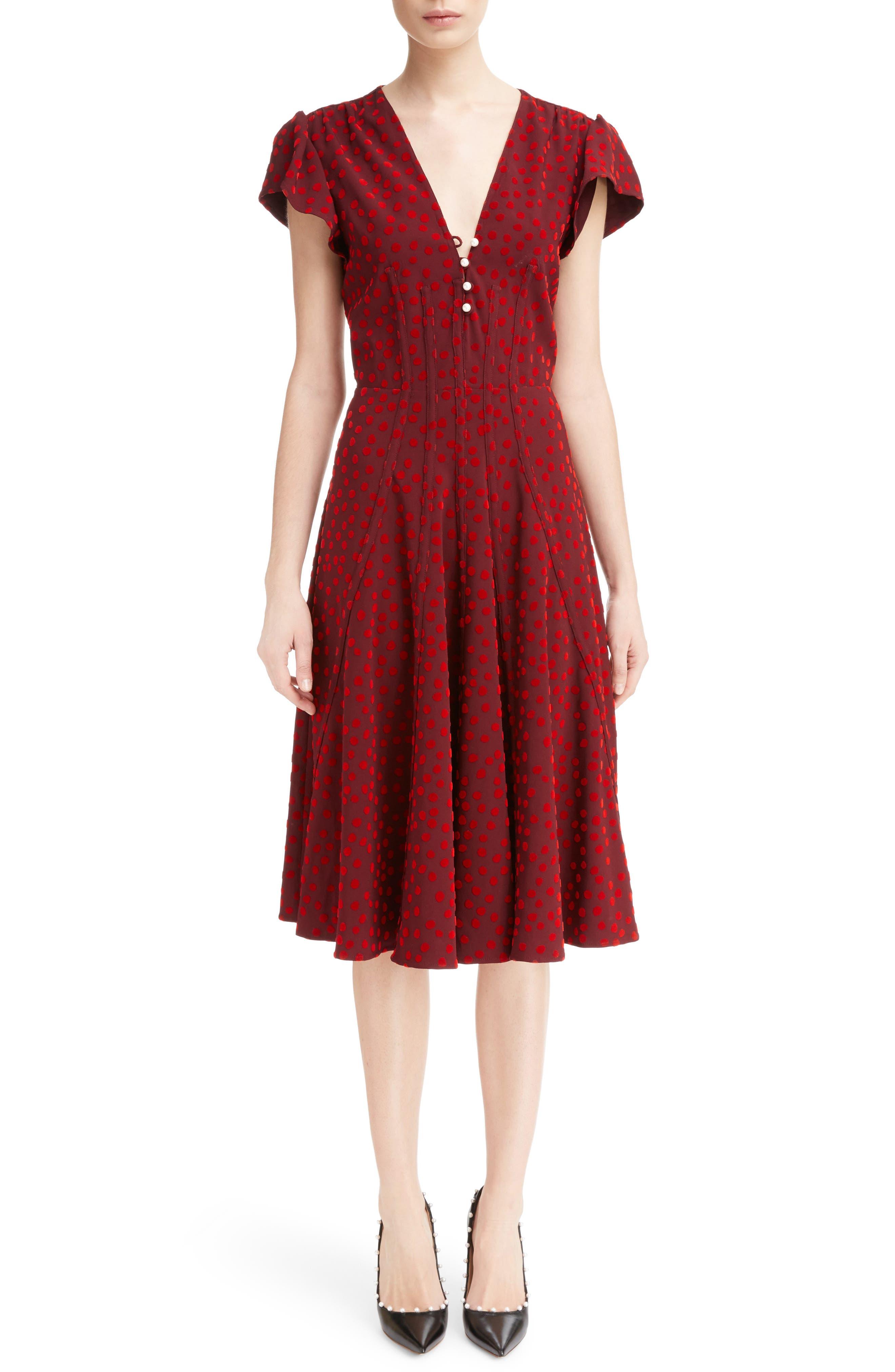 Camilla Dot Print Dress,                         Main,                         color, Garnet