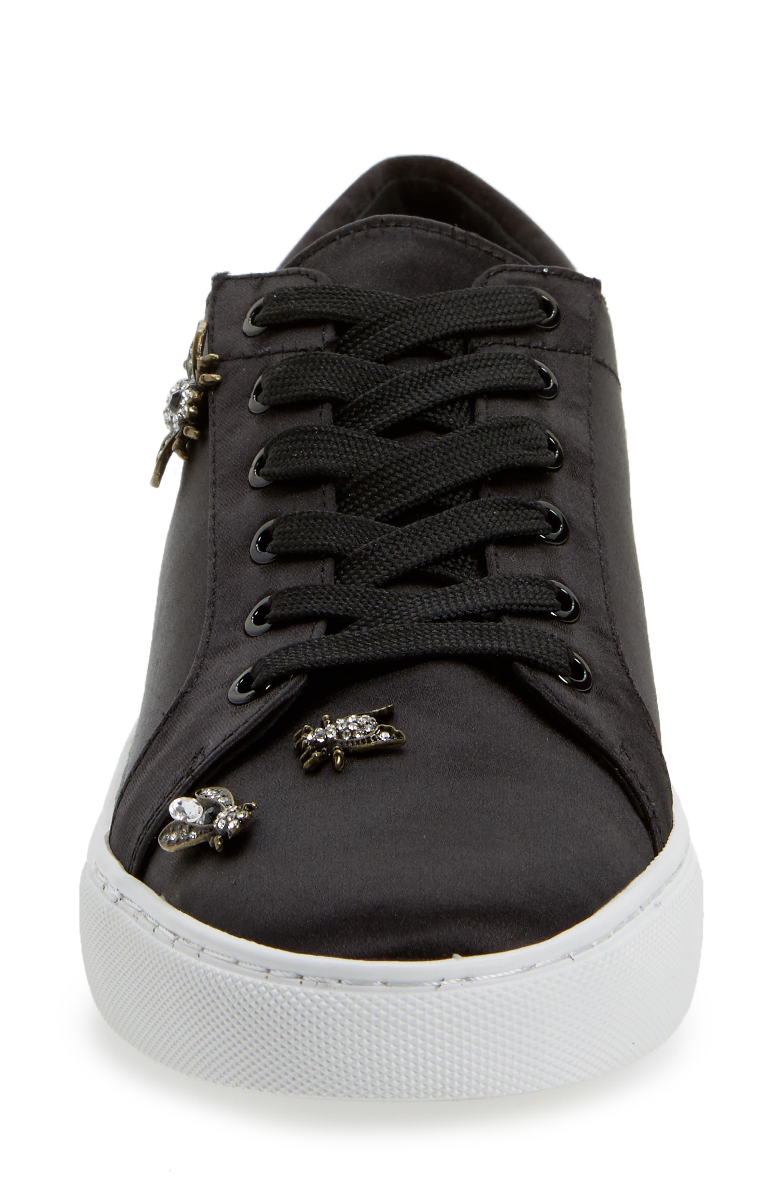 'Kam' Sneaker,                             Alternate thumbnail 4, color,                             Black Satin
