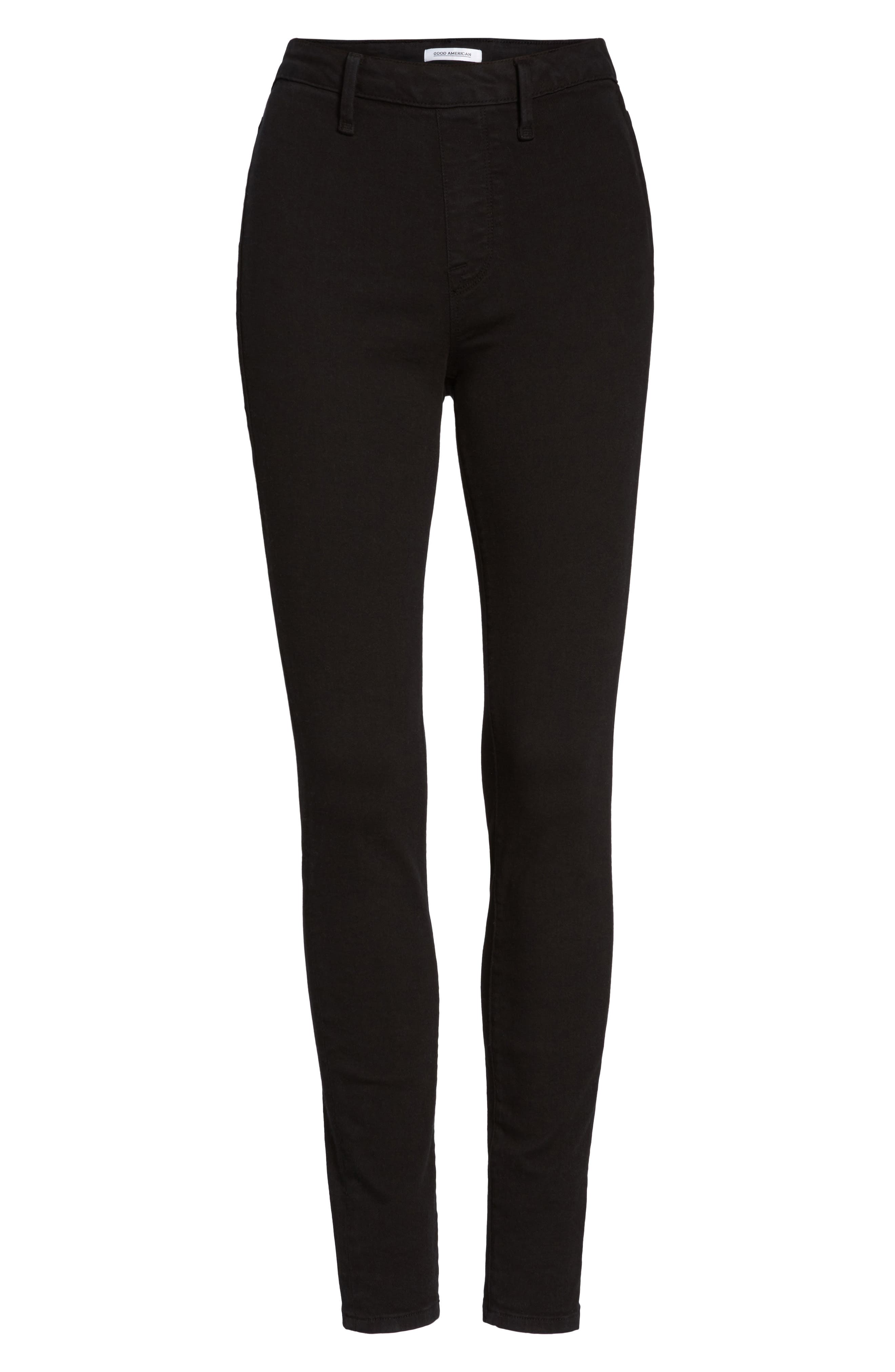 Alternate Image 6  - Good American High Waist Side Zip Skinny Jeans (Black 001) (Extended Sizes)